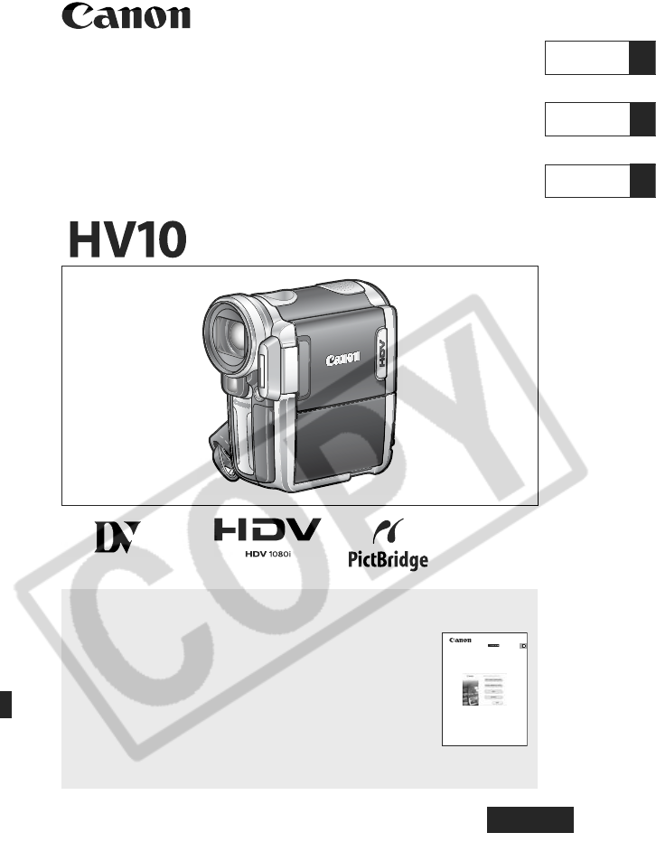 canon camcorder hv10 user guide manualsonline com rh camera manualsonline com Canon Camera User Manual Canon T2i Manual