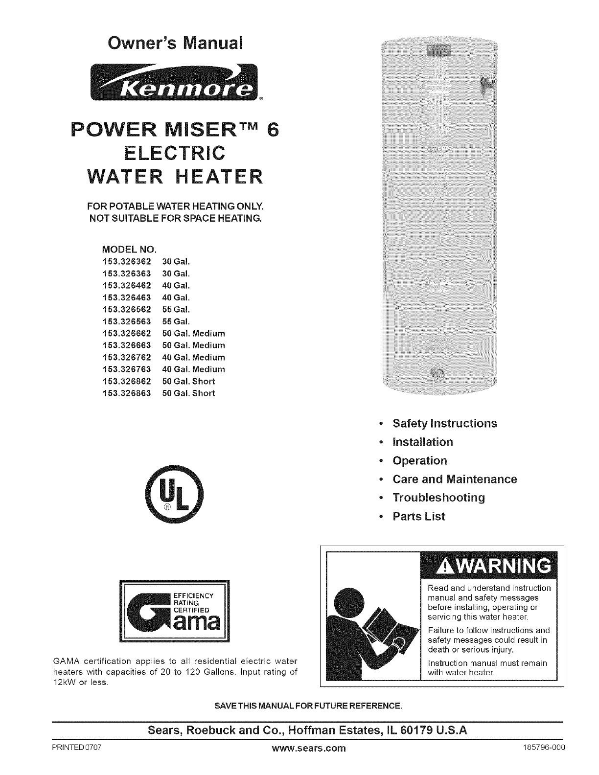Kenmore water heater 153326562 55 gal user guide manualsonline ccuart Image collections