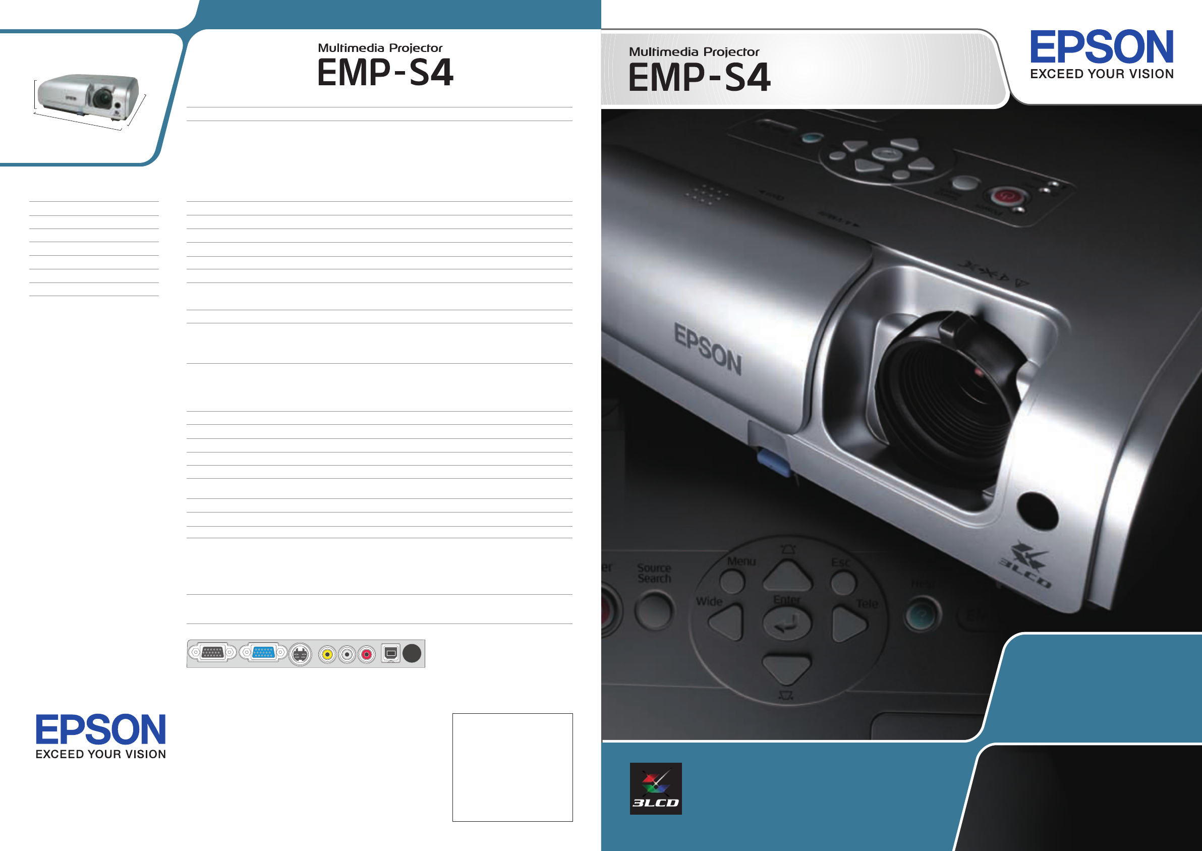 Epson EMP-S4 Projector User Manual