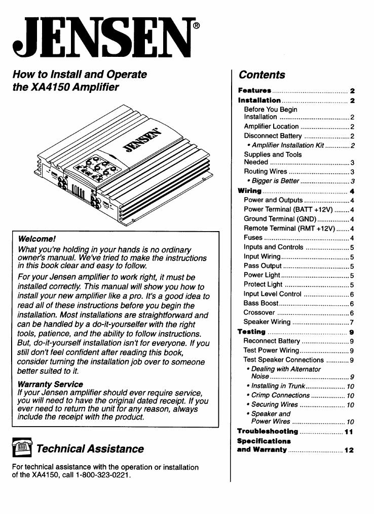 jensen car amplifier xa4150 user guide manualsonline com rh caraudio manualsonline com Jensen 400 Watt Amp Jensen Amplifier Speakers