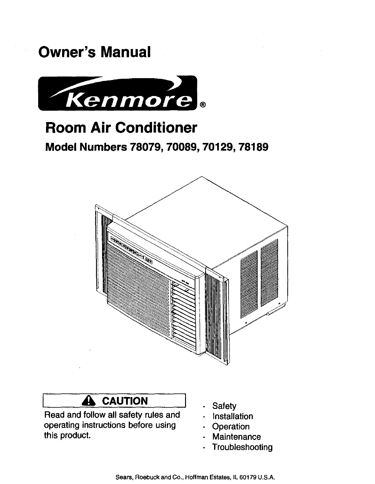 Owner's Manual. ®. Room Air Conditioner