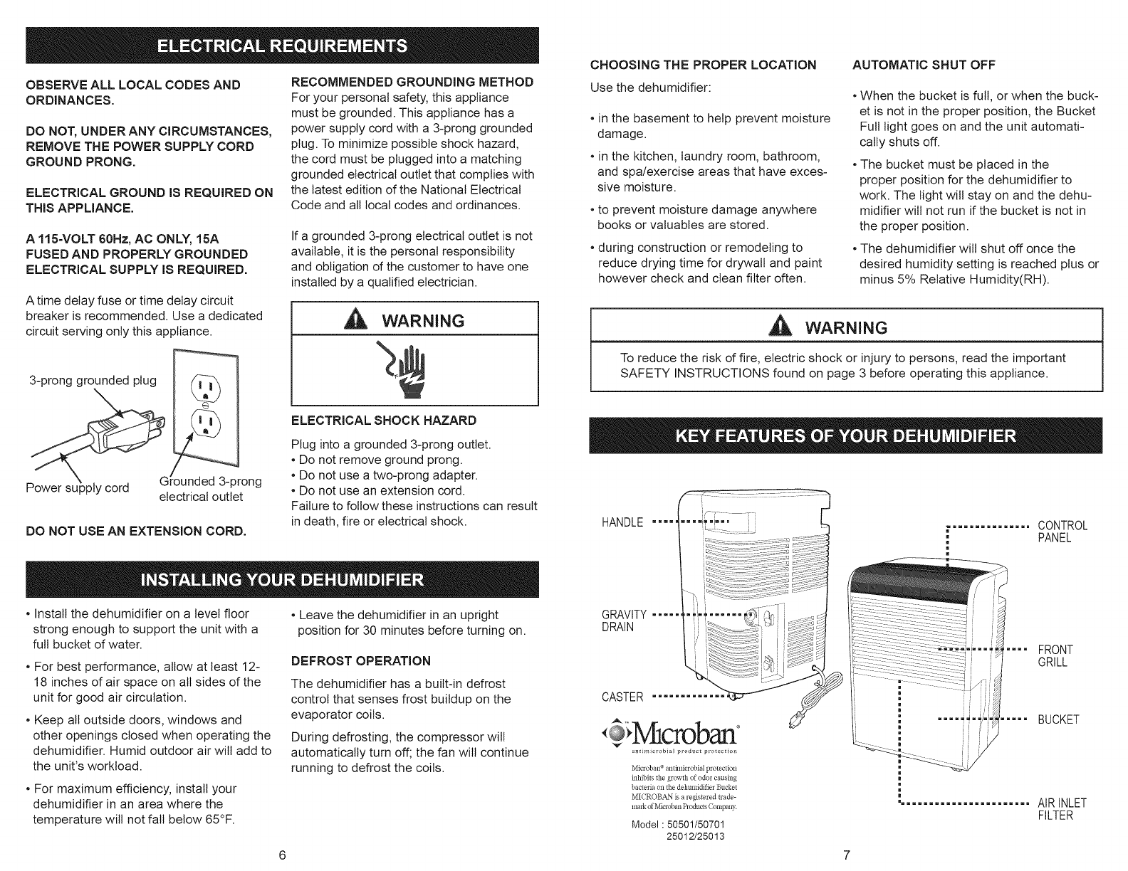 Page 4 Of Kenmore Dehumidifier 251 50501 User Guide