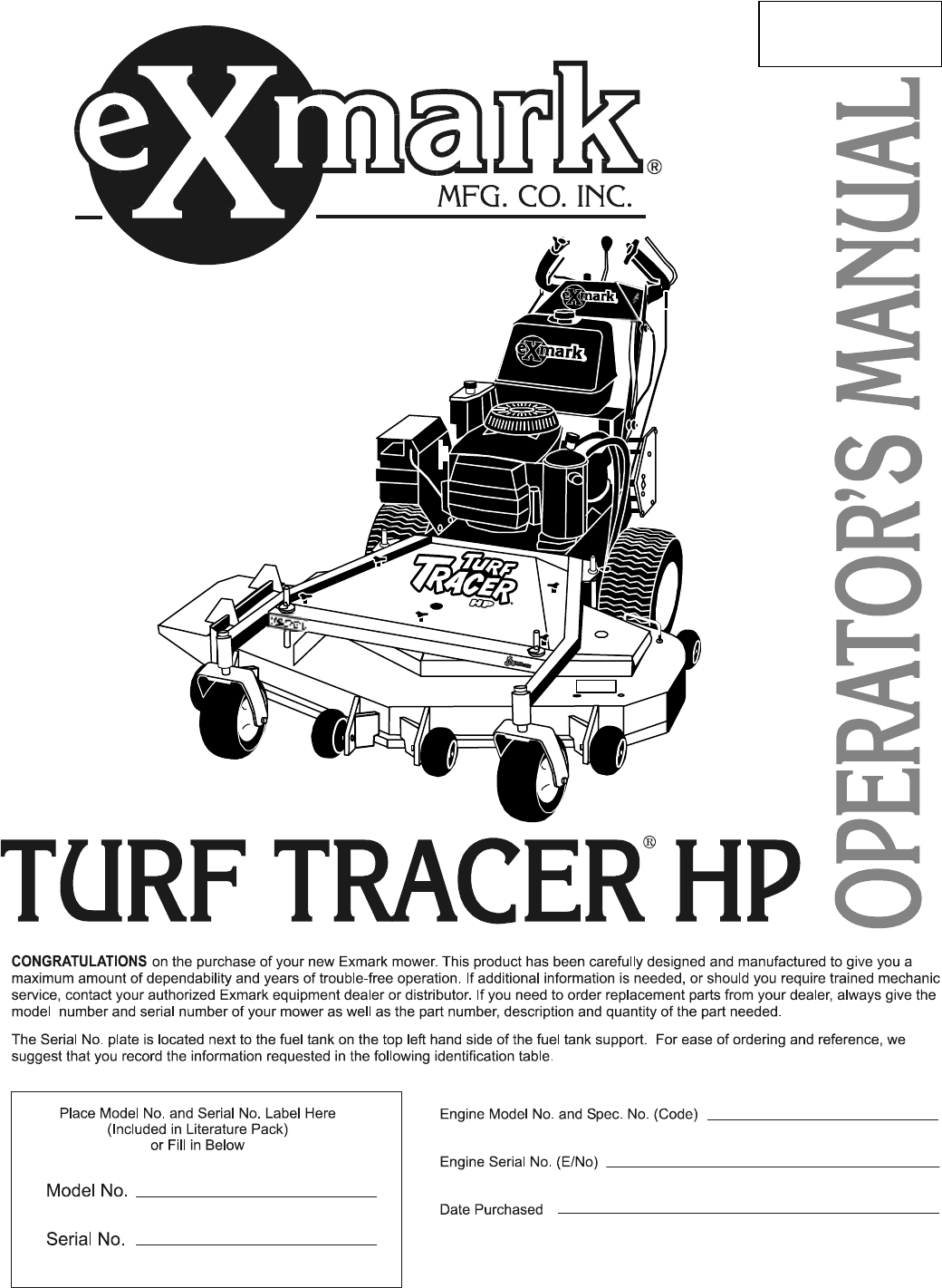 Exmark Turf Tracer Wiring Diagram Ex Mark Lazer Z Pto Switch Lawn Mower Hp User Guide Manualsonline Com Logo
