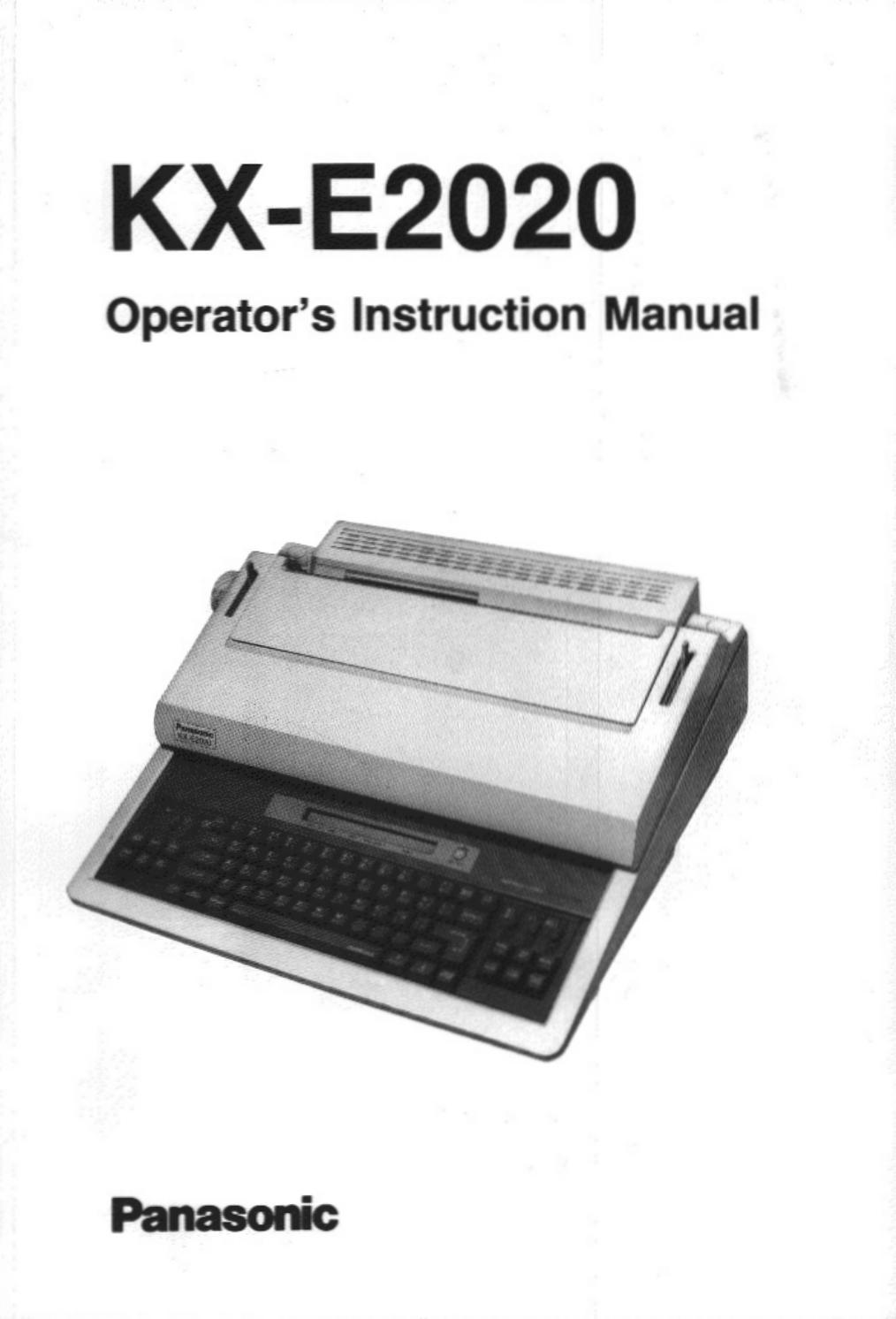 Panasonic Printer KX-E2020 User Guide   ManualsOnline.com