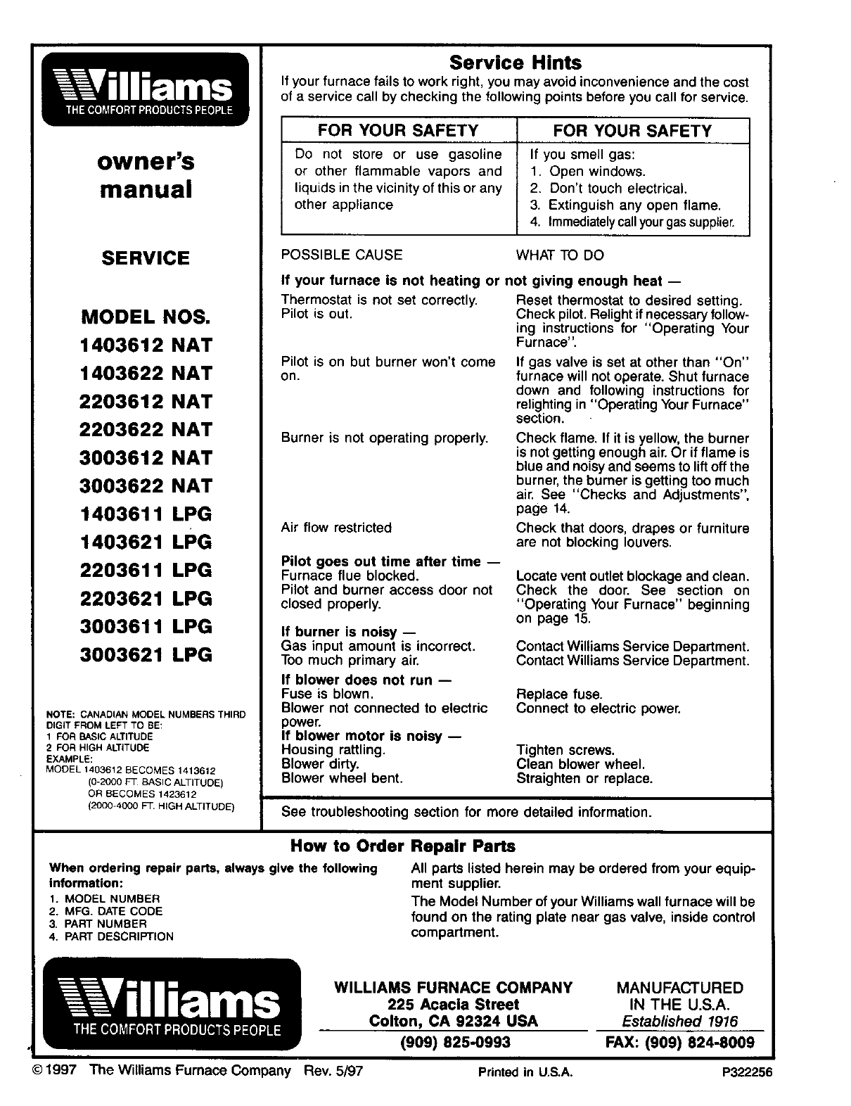 Page 26 Of Williams Furnace 2203612 User Guide Manualsonlinecom Wall Wiring Diagram Electric Owners Manual