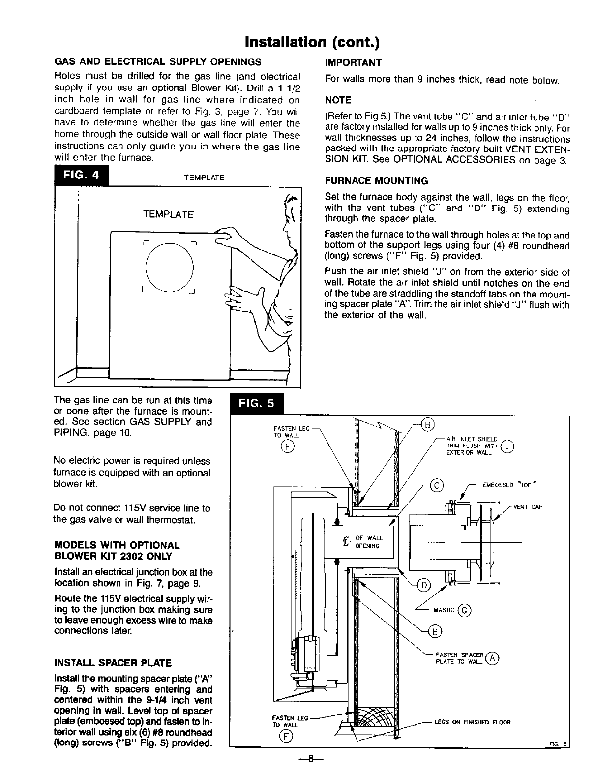 Page 8 Of Williams Furnace 3003612 User Guide Manualsonlinecom Top Vent Wall Wiring Diagrams Installation Cont