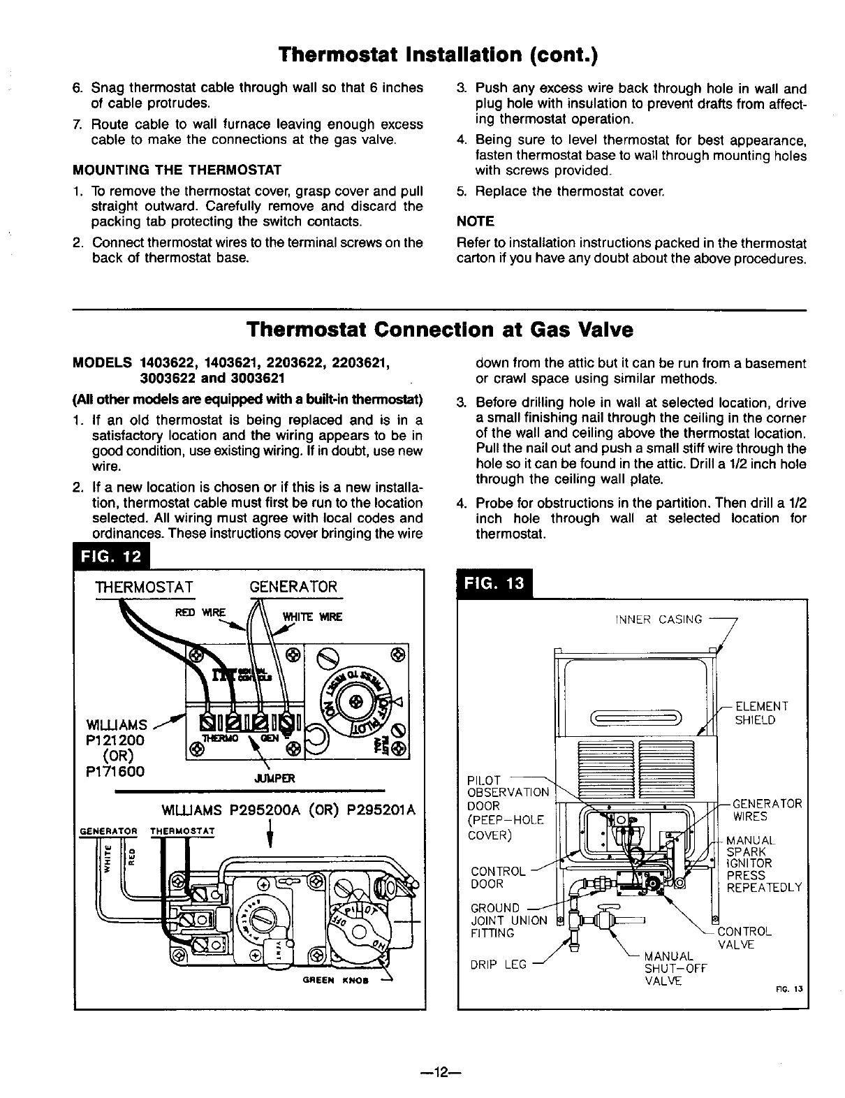 page 12 of williams furnace 1403612 user guide manualsonline com Wall Heater Thermostat Diagram thermostat installation (cont ) wall heater thermostat wiring diagram