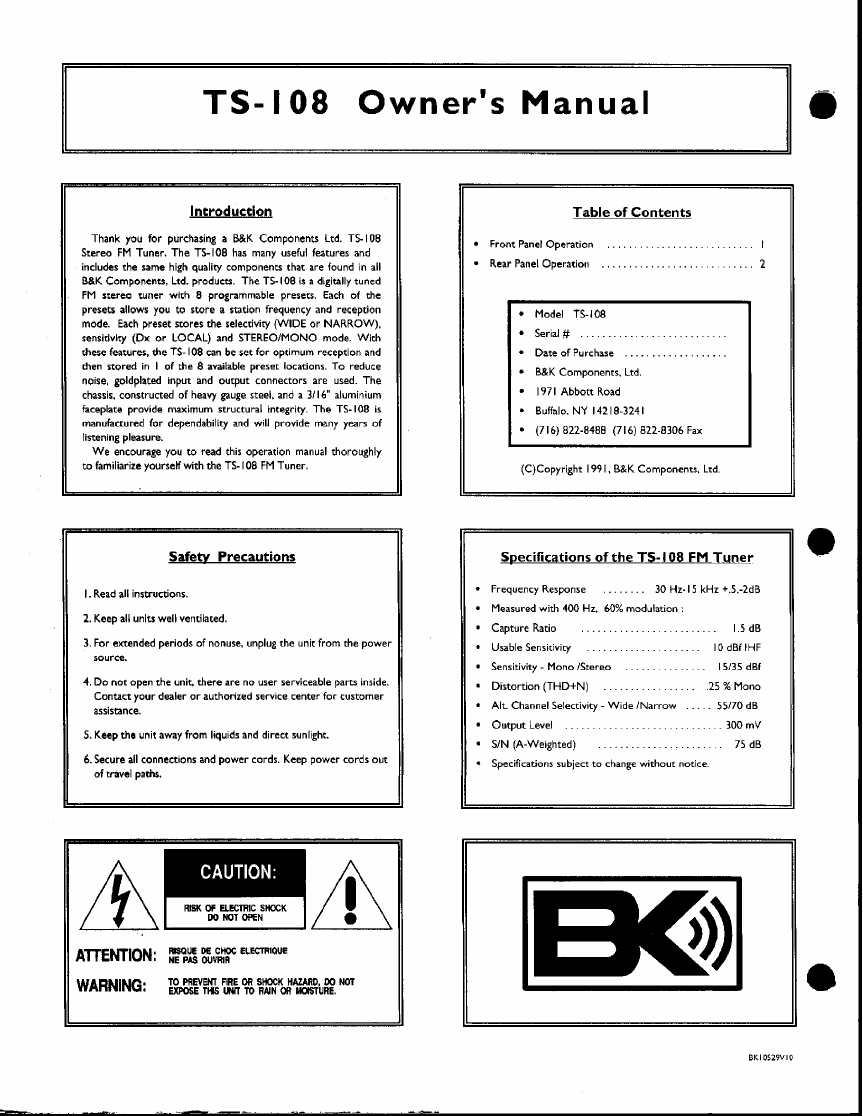 page 2 of b k stereo system ts108 user guide manualsonline com rh audio manualsonline com User Manual PDF Instruction Manual Example