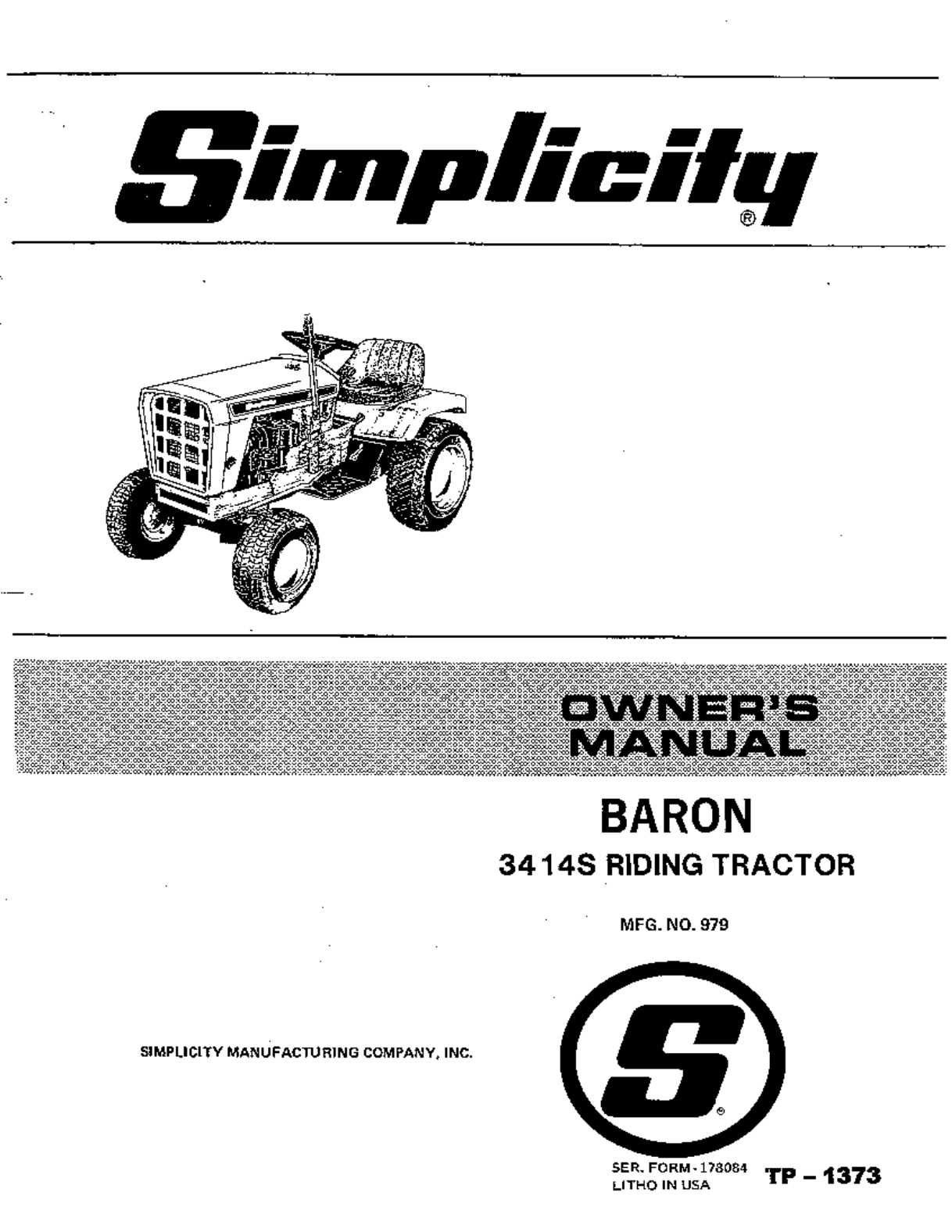 simplicity lawn mower 3414s user guide manualsonline com rh manualsonline com Simplicity Coronet Riding Mower Wheel Horse Lawn Mower Manual A50