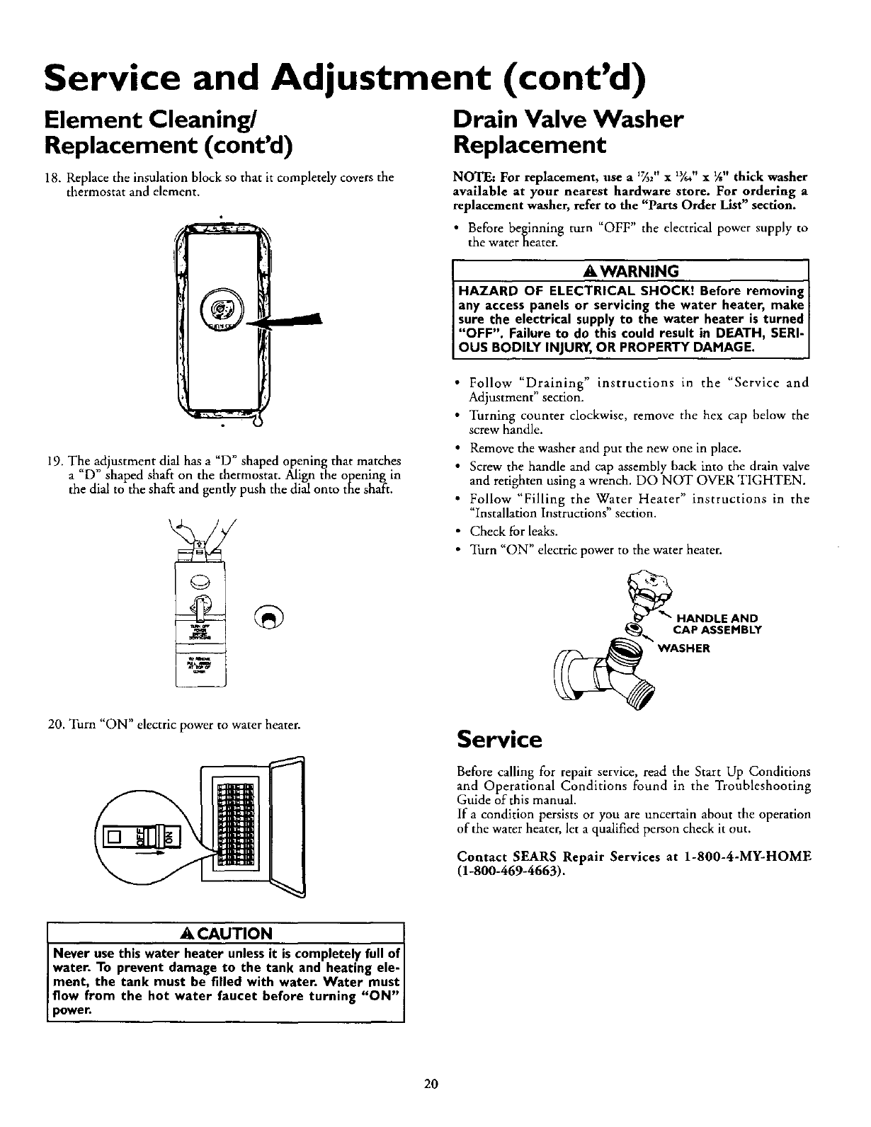 Page 20 Of Kenmore Water Heater 153320593 Ht User Guide Sears Thermostat Wiring Diagram Service And Adjustment Contd Element Cleaning