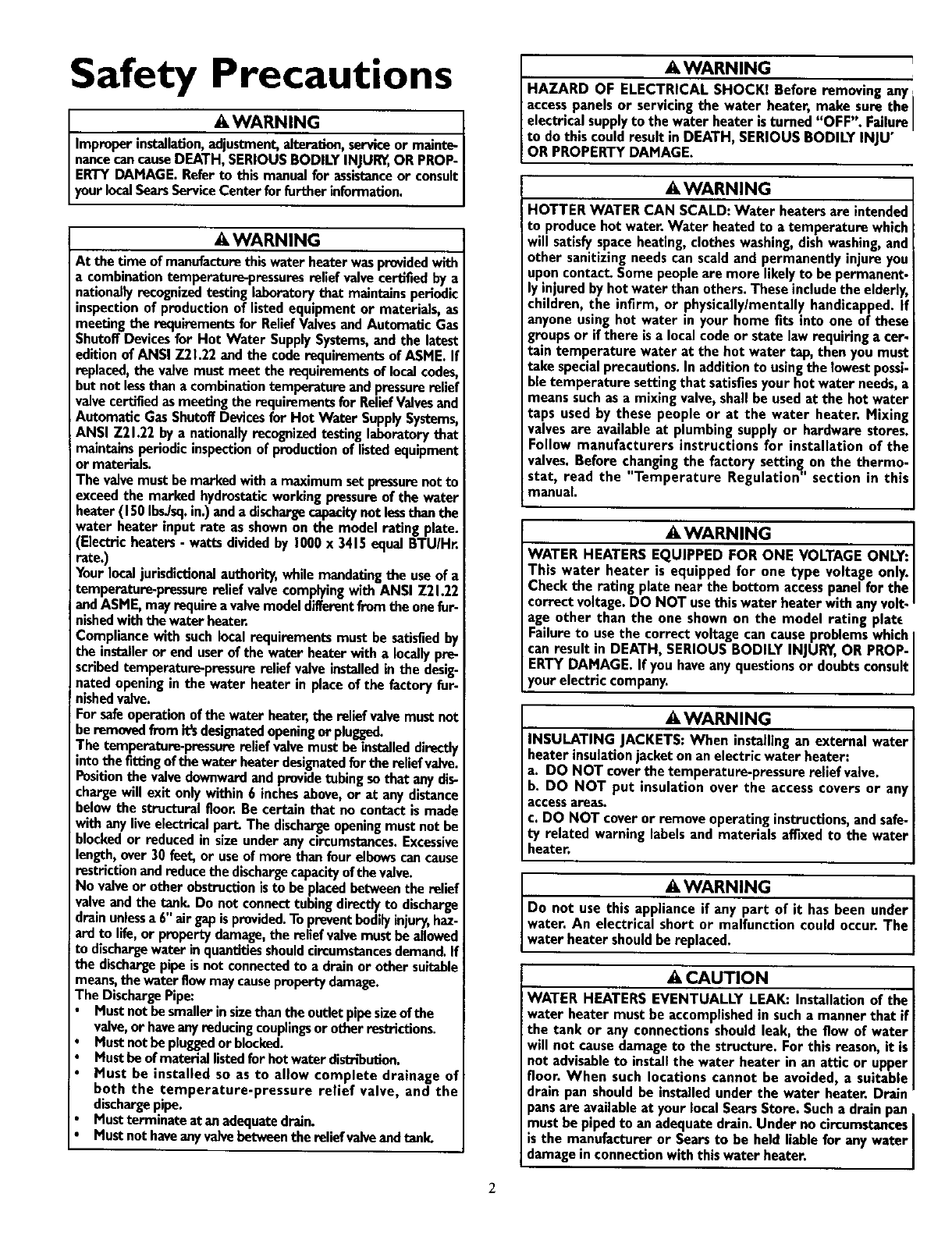 Page 2 of Kenmore Water Heater 153.320593 HT User Guide ...