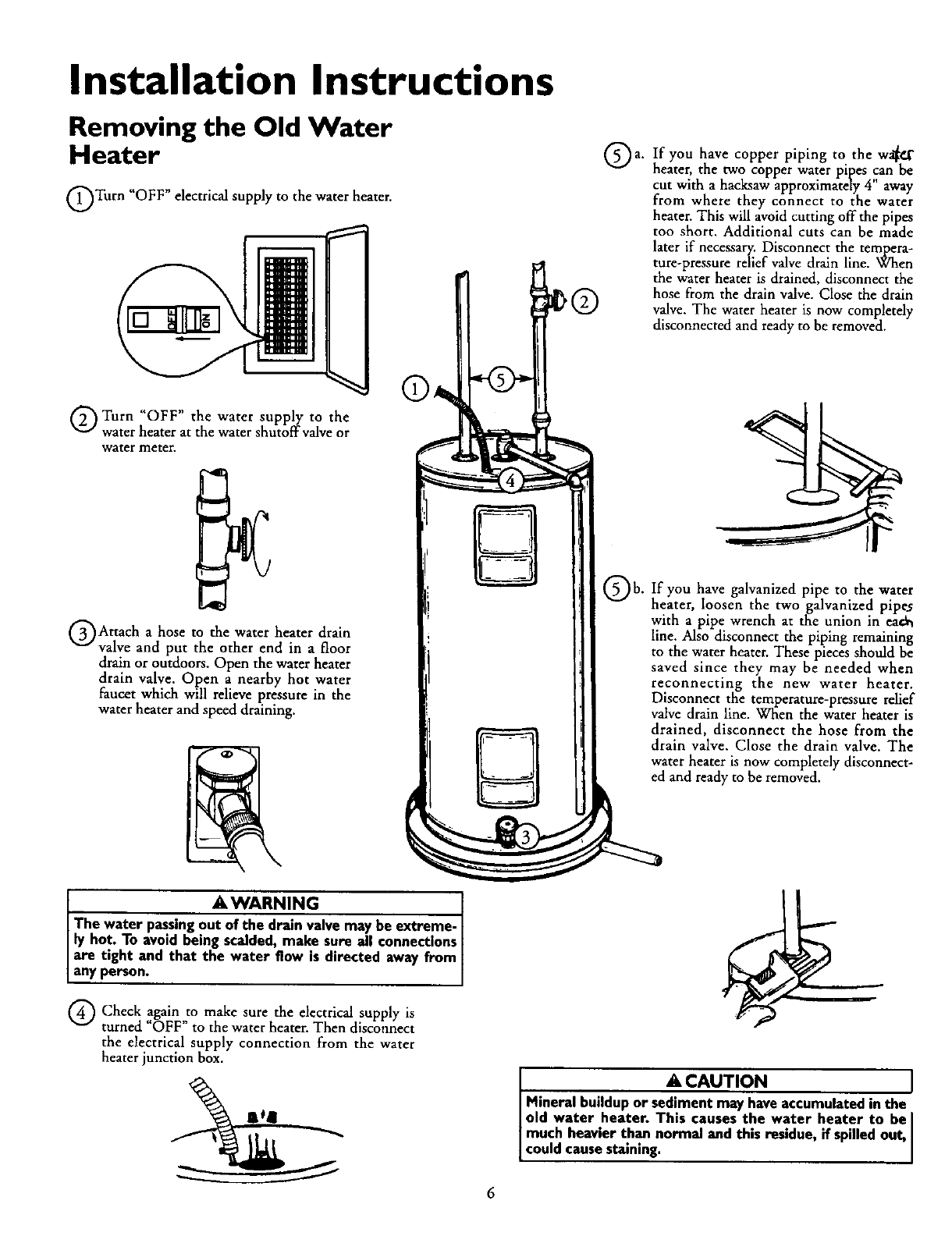 Page 6 of kenmore water heater 153320893 ht user guide installation instructions removing the old water heater ccuart Image collections