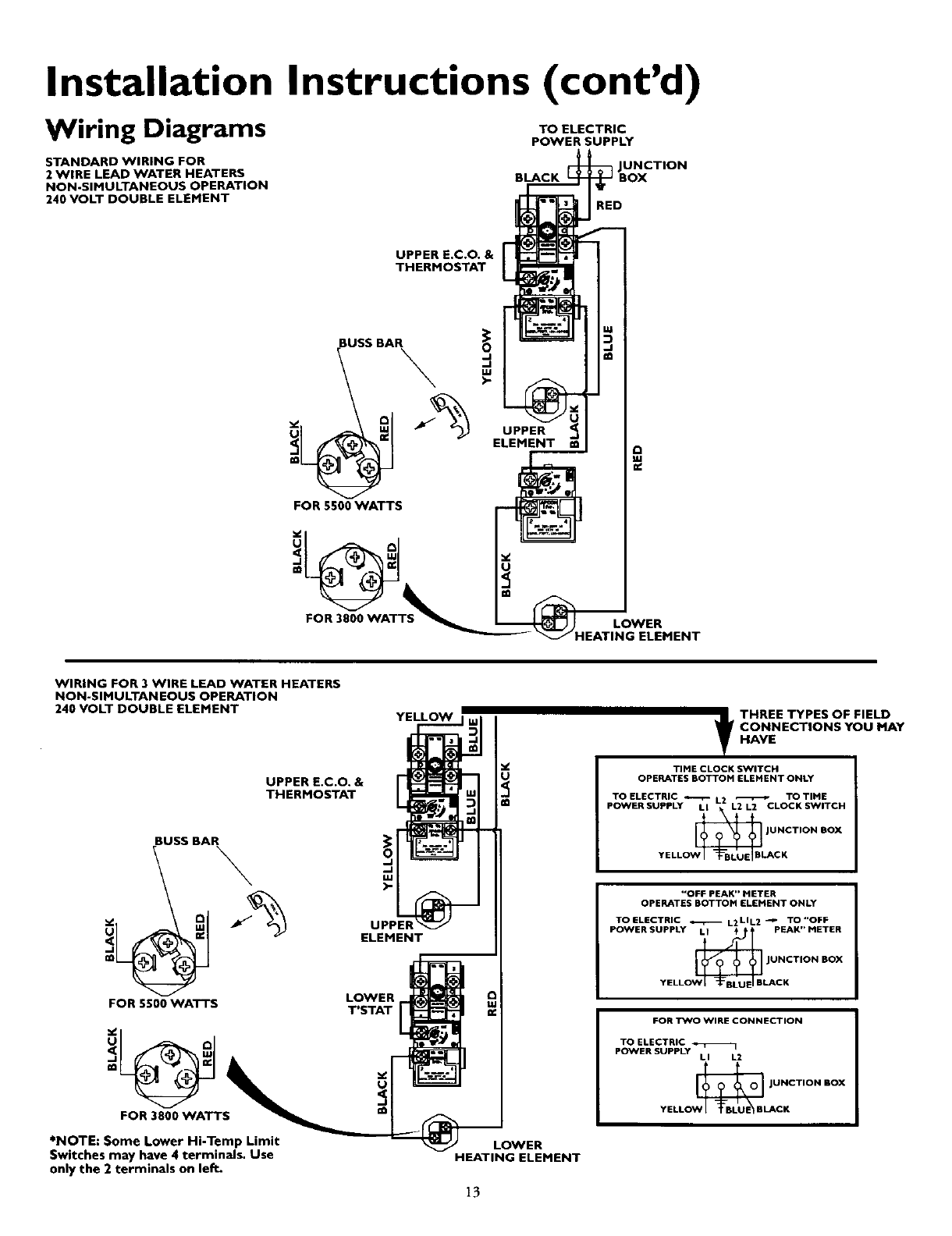 Page 13 of kenmore water heater 153320492 ht user guide installation instructions contd wiring diagrams ccuart Image collections