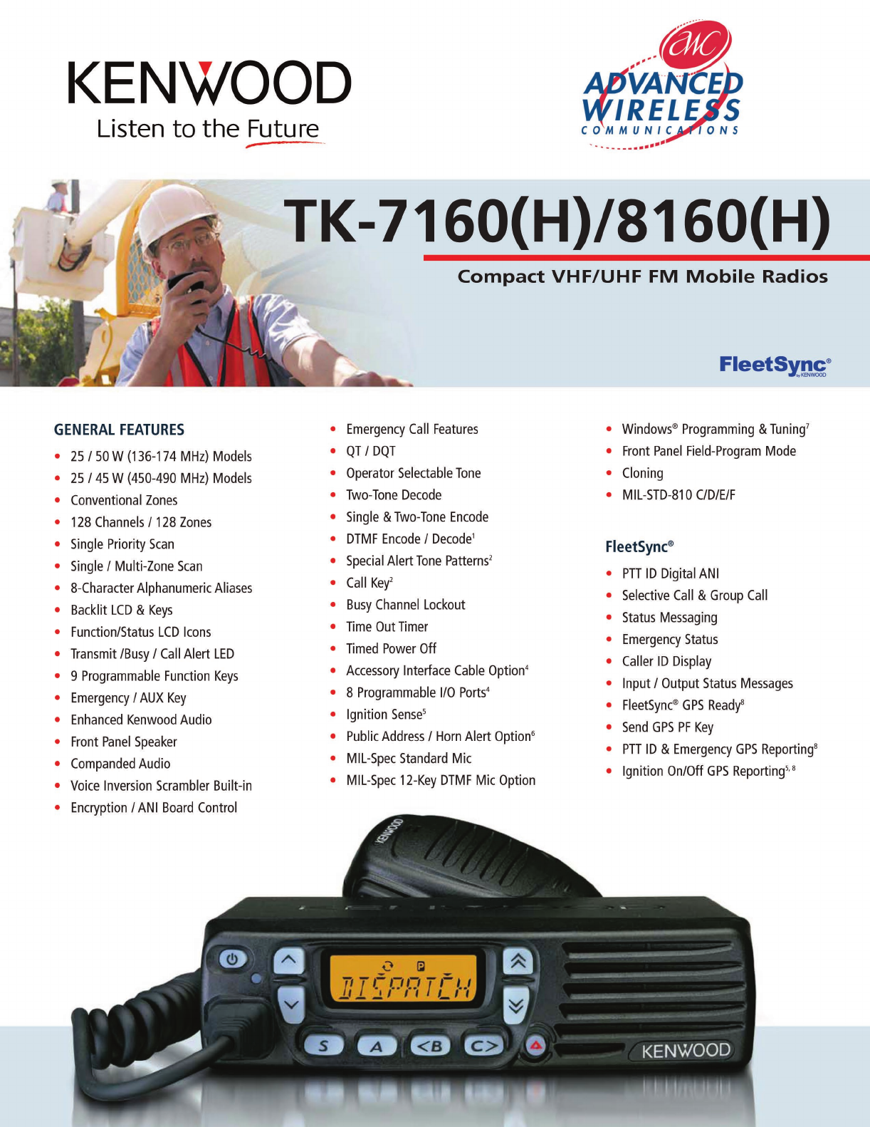 Advanced Wireless Solutions TK-7160(H) Portable Radio User Manual