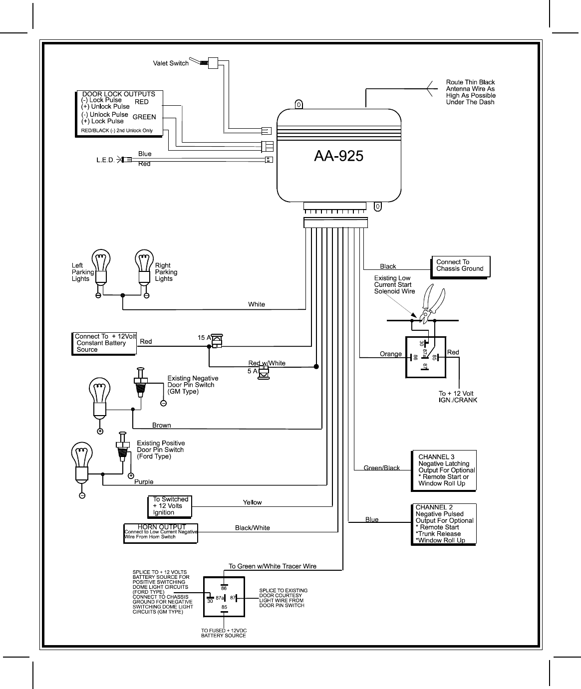 page 8 of audiovox automobile alarm aa925 user guide manualsonline com rh auto manualsonline com car alarm install guide Viper Car Alarm Wiring Diagram
