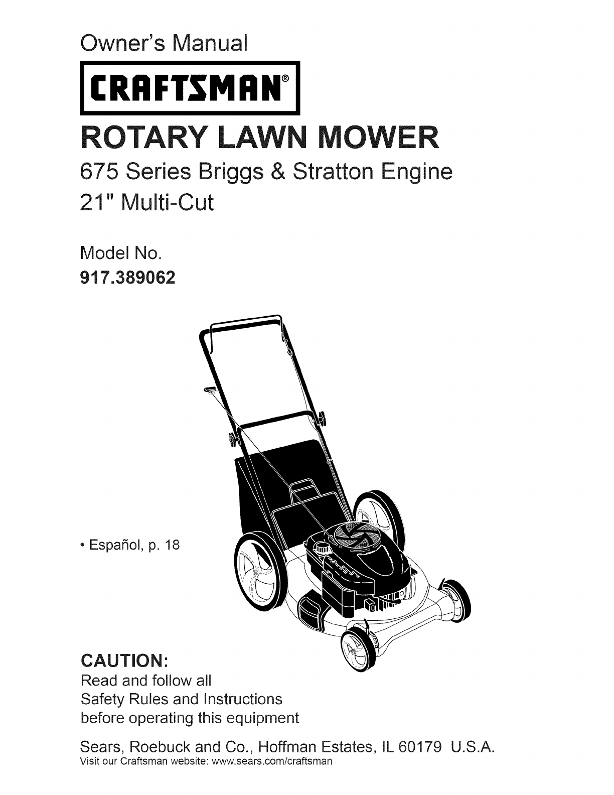 craftsman lawn mower 917 389062 user guide manualsonline com rh audio manualsonline com Briggs Stratton Lawn Mower Owner Manuals briggs and stratton 675 series engine owners manual
