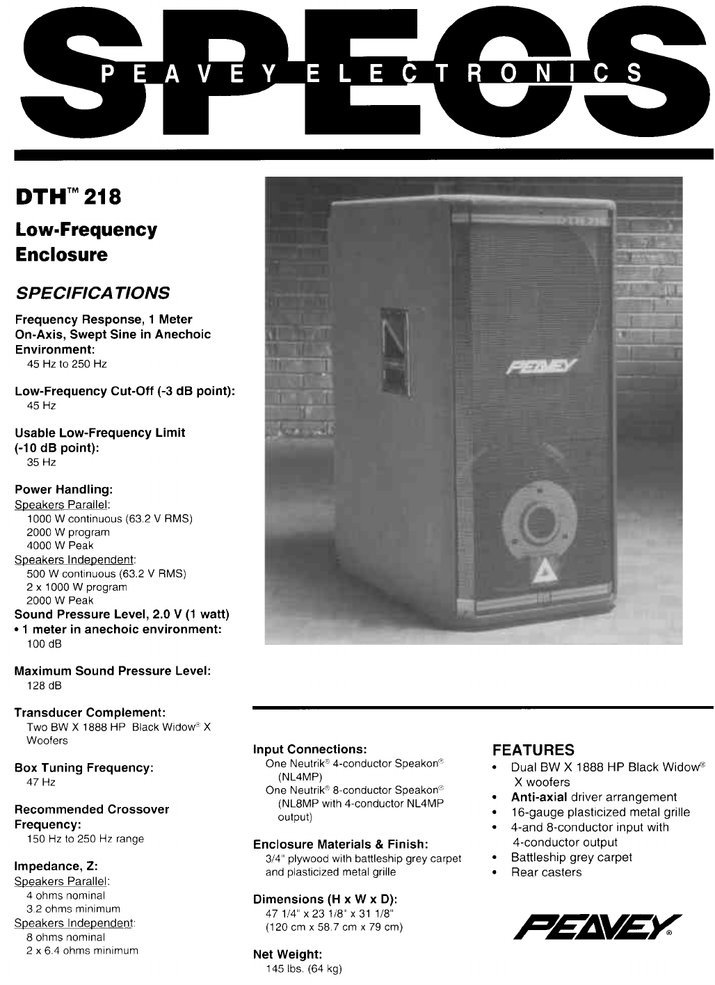 peavey speaker dth 218 user guide manualsonline com rh audio manualsonline com peavey sp2 speaker manual peavey sp4 speaker manual