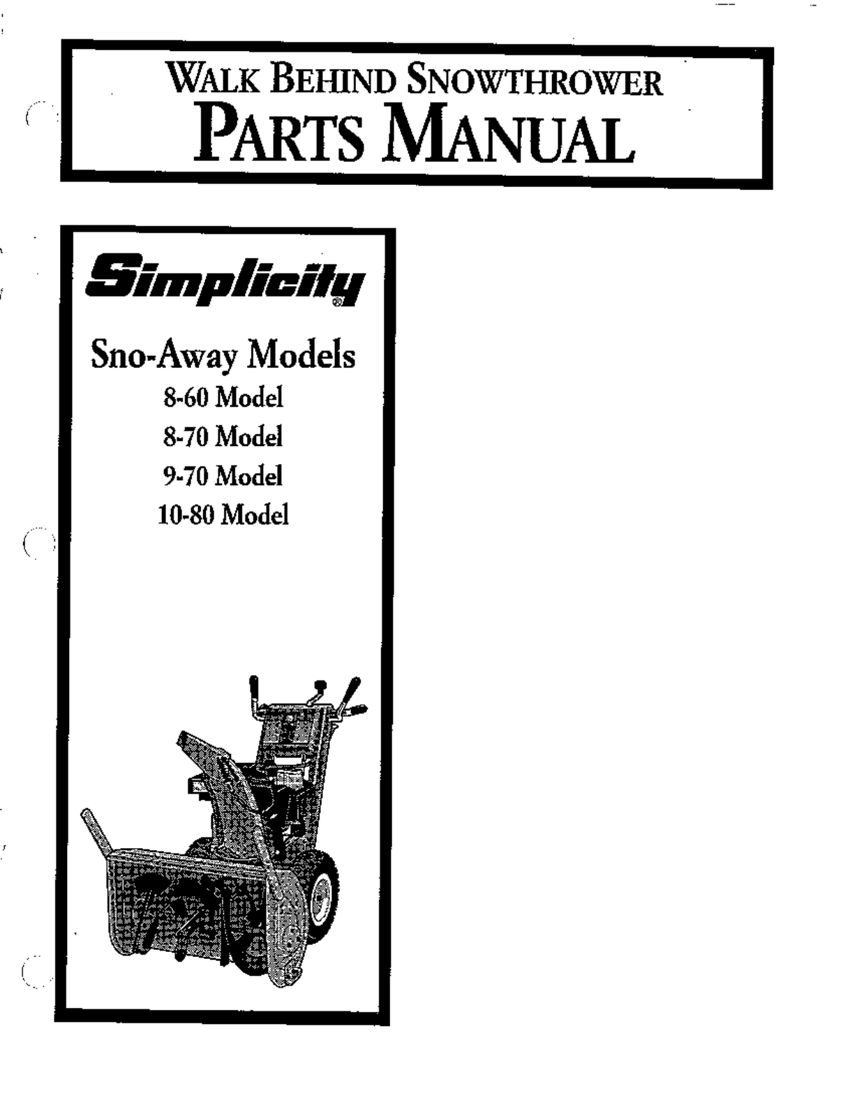 simplicity snow blower 10 80 user guide manualsonline com rh lawnandgarden manualsonline com Simplicity 755 Parts Simplicity 755 Parts