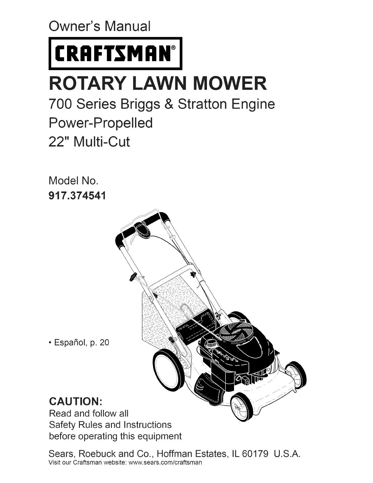 Craftsman Lawn Mower 917 374541 User Guide Manualsonline Com