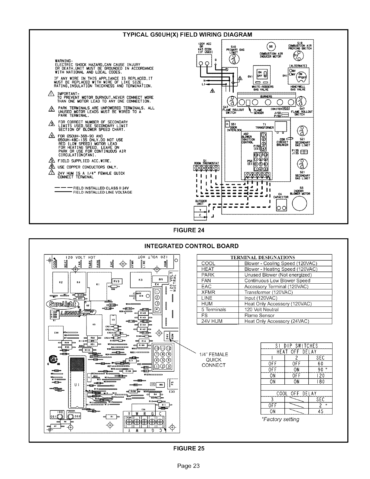 page 23 of lennox international inc furnace g50uh 36b 090 user rh homeappliance manualsonline com Non-Incendive Field Wiring DC Motor Field Wiring