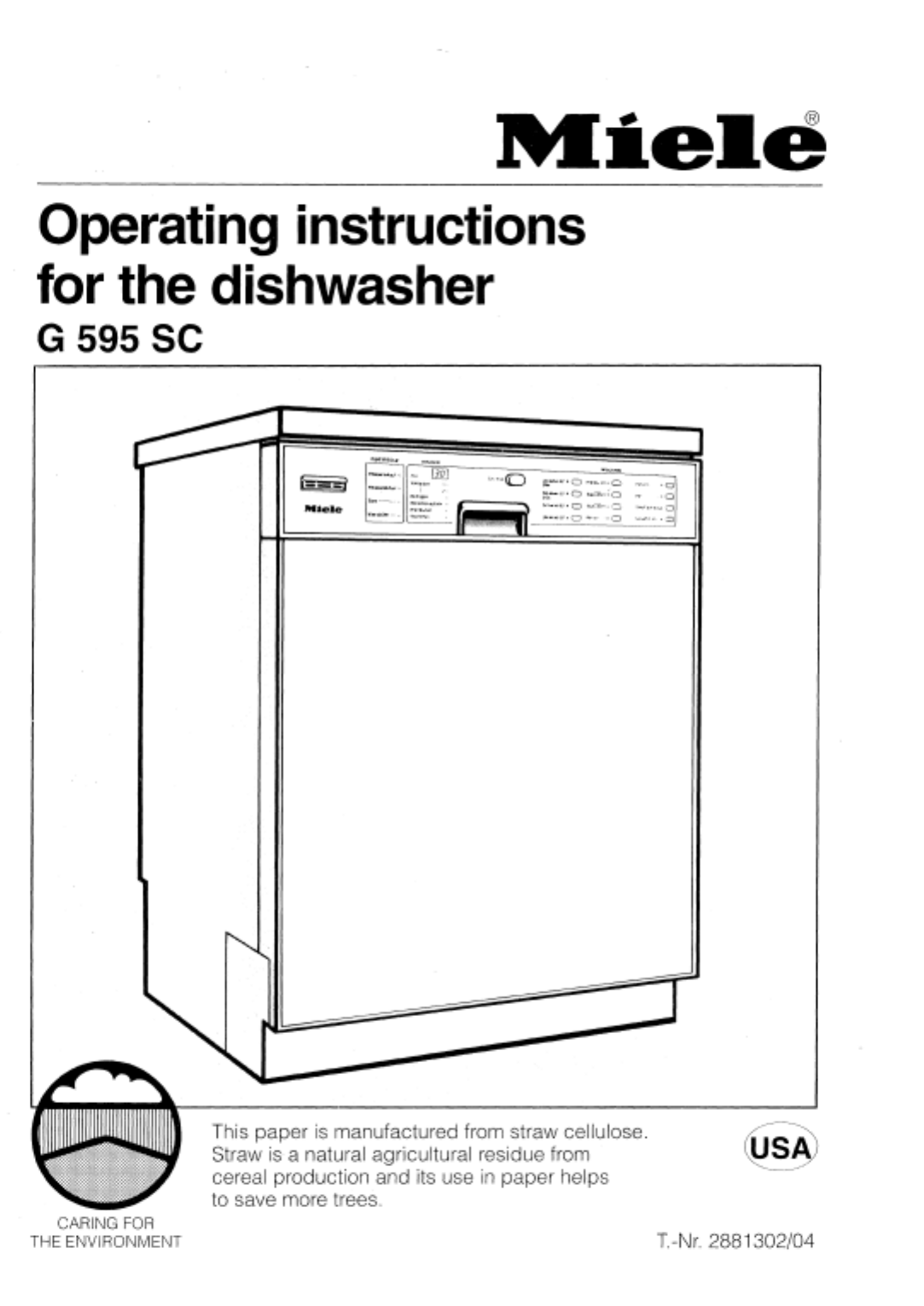 miele dishwasher g 595 sc user guide manualsonline com rh manualsonline com miele dishwasher service manual pdf miele dishwasher g1220sc service manual