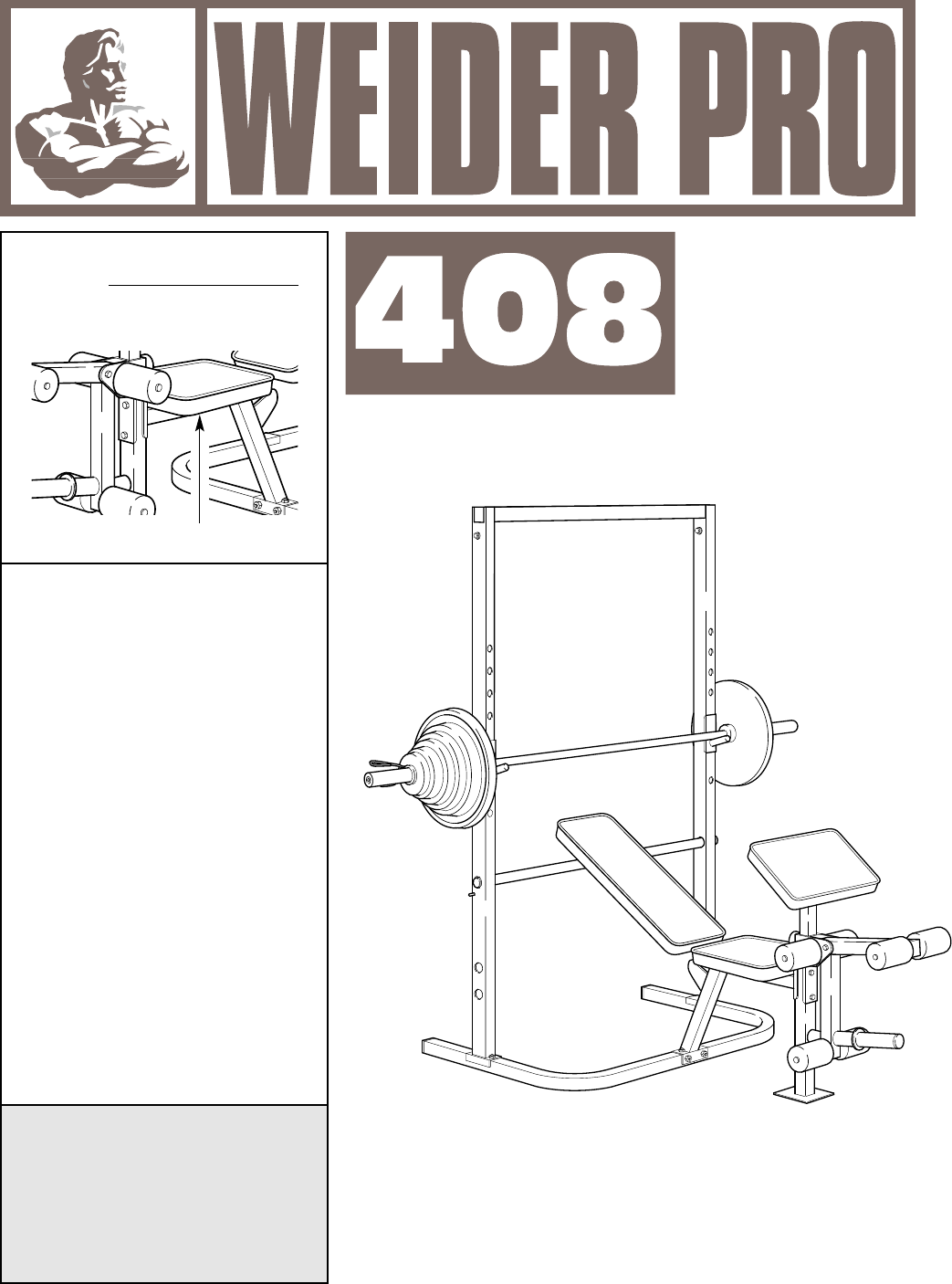 Weider Home Gym Pro 408 User Guide
