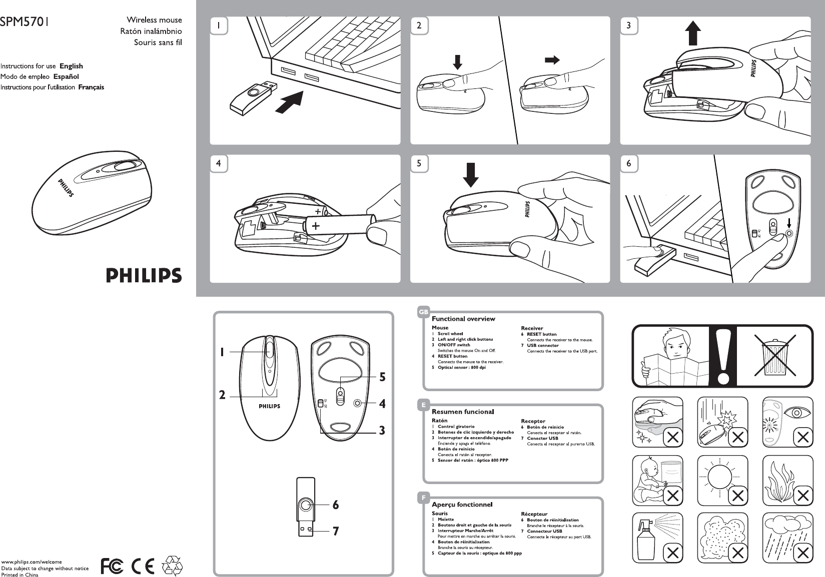 philips mouse spm5701 user guide manualsonline com rh office manualsonline com Philips Flat TV Manual Philips Universal Remote User Manual