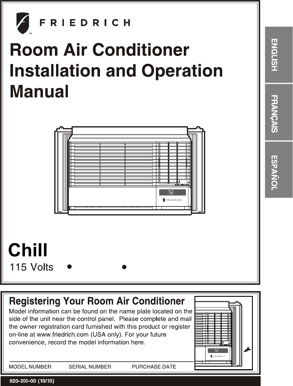 Friedrich Air Conditioner Cp06g10 User Guide Manualsonlinecom Thermostat Wiring Diagram 200