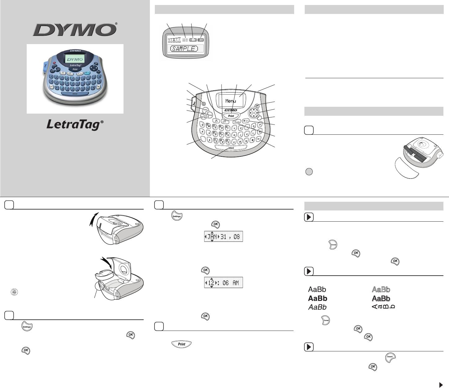 Dymo Label Maker Lt 100t User Guide Manualsonline
