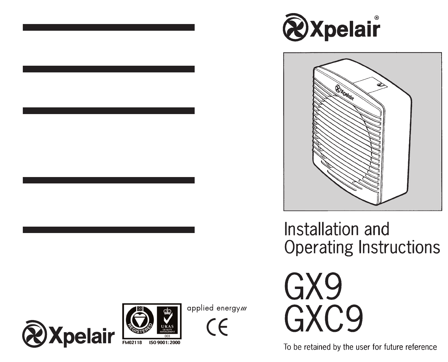 xpelair gx9 installation instructions