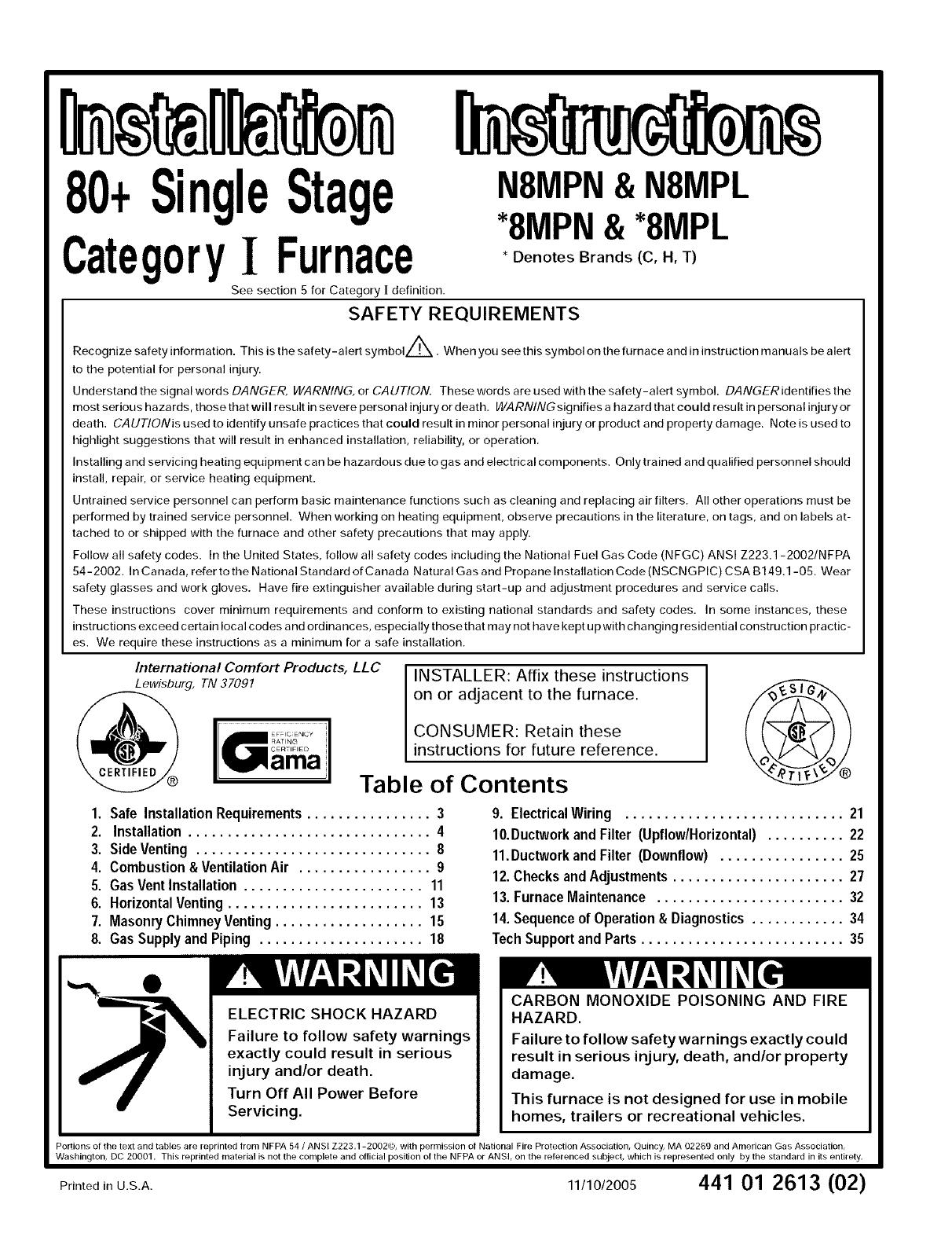 Comfortmaker owners manual