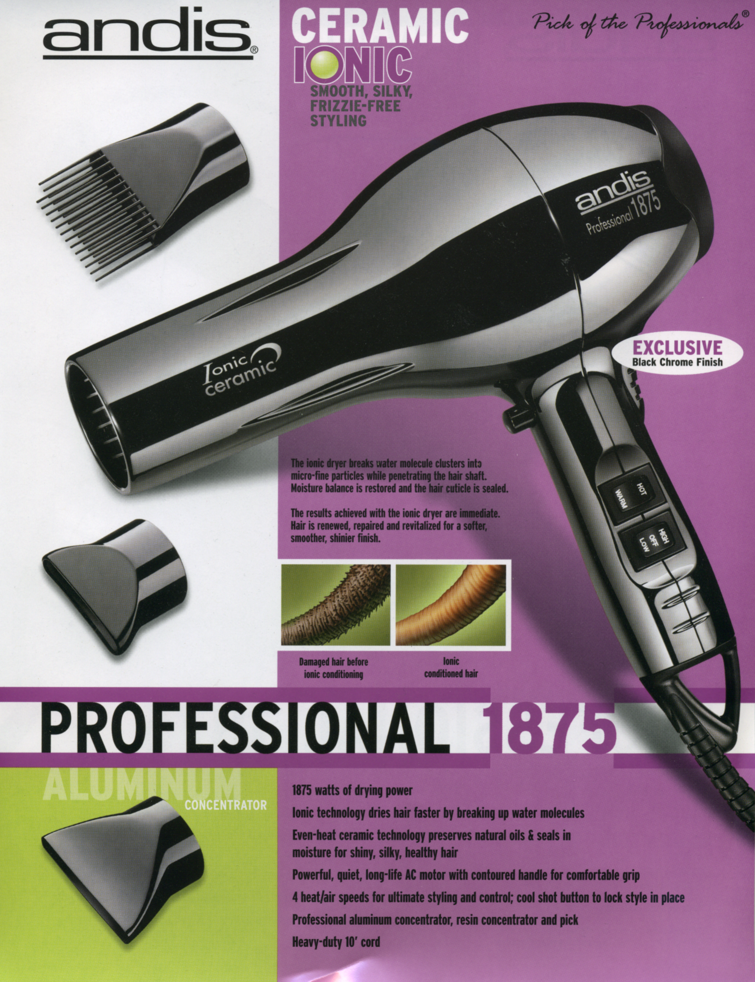 Andis Company 1875 Hair Dryer User Manual