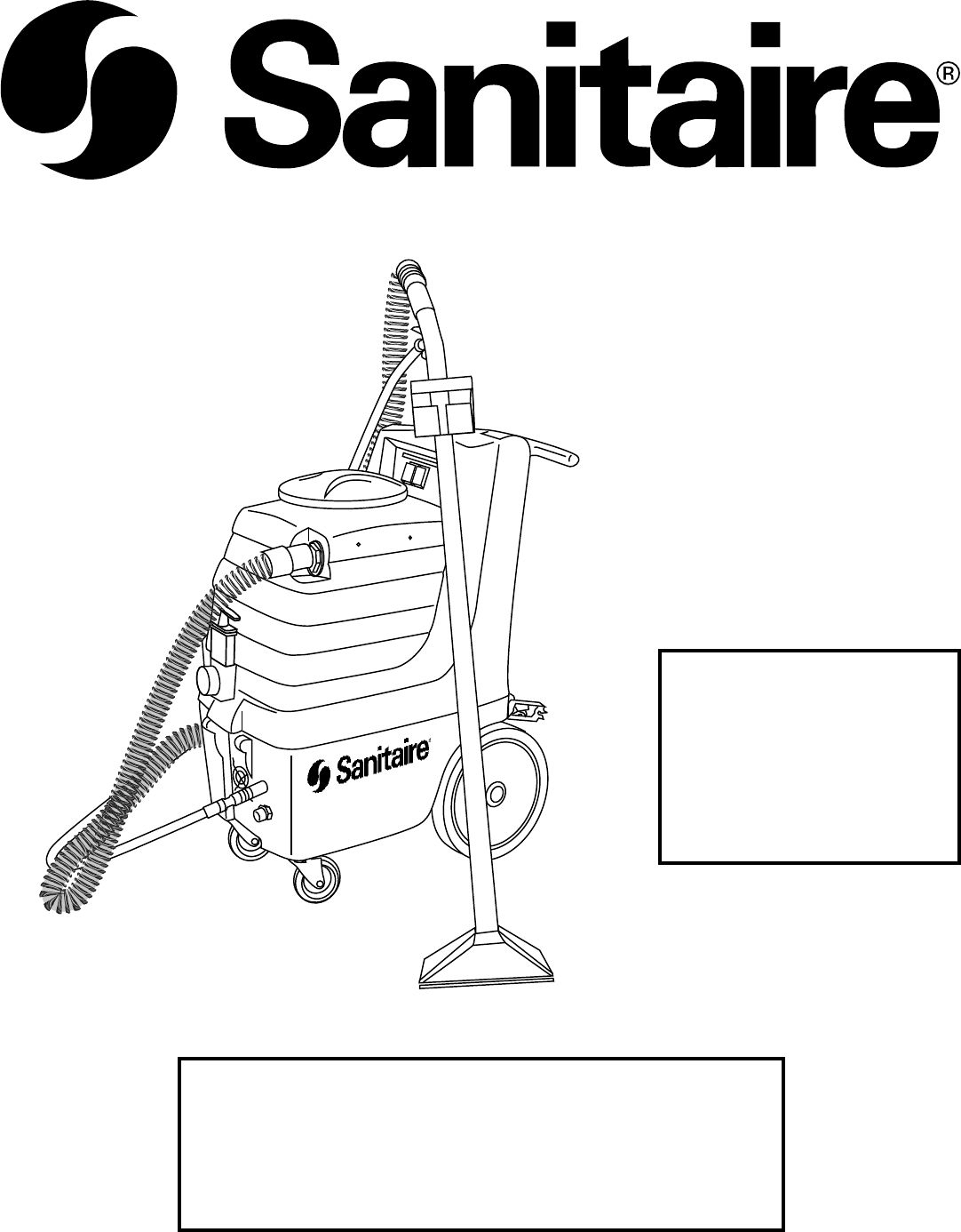 sanitaire carpet cleaner user manual