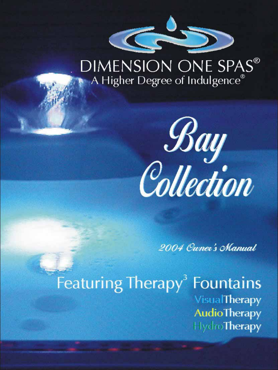 Dimension one spas hot tub bay collection user guide for Dimension one spas