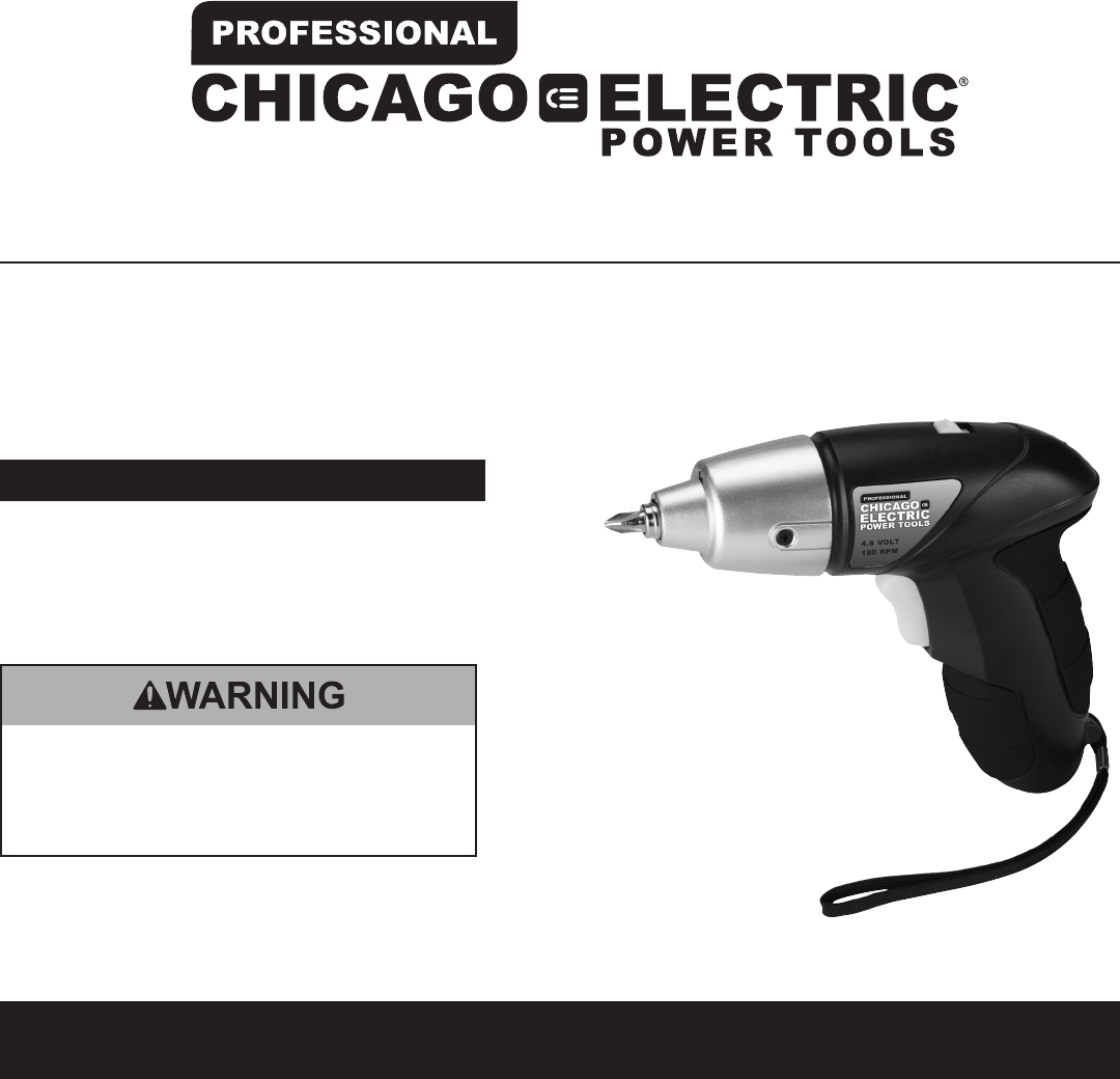 chicago electric power tools parts manual