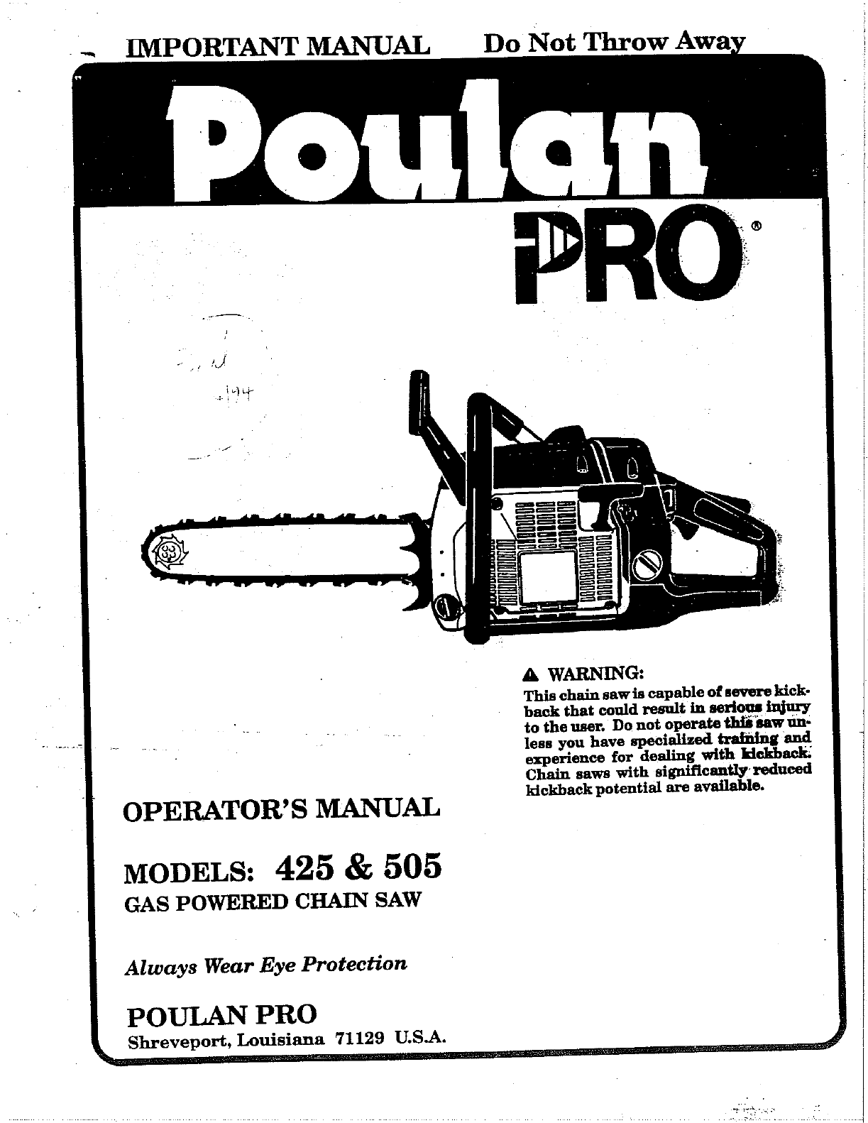 poulan chainsaw 425 user guide