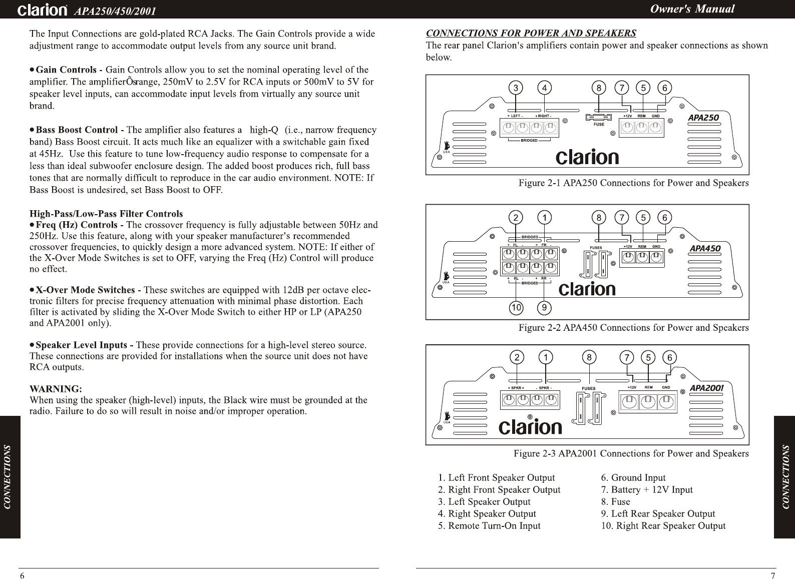 Page 8 Of Clarion Car Stereo System Apa250 User Guide