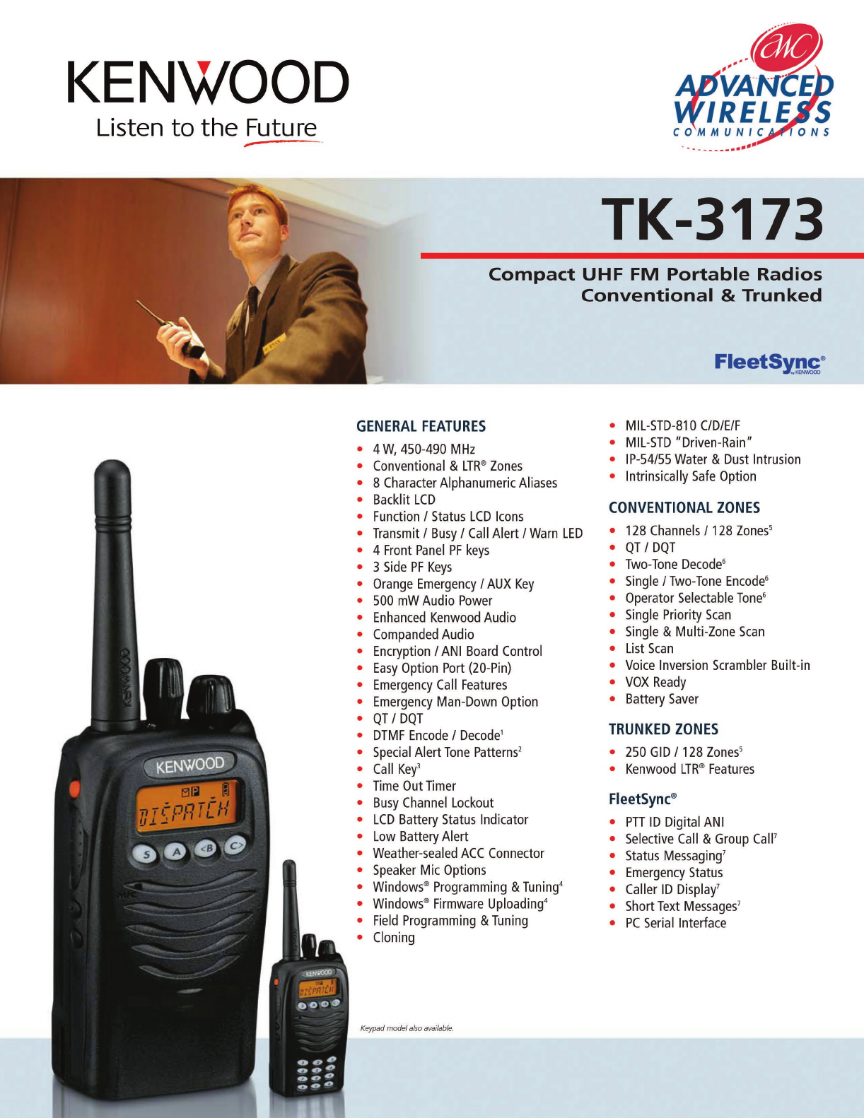 Advanced Wireless Solutions TK-3173 Portable Radio User Manual