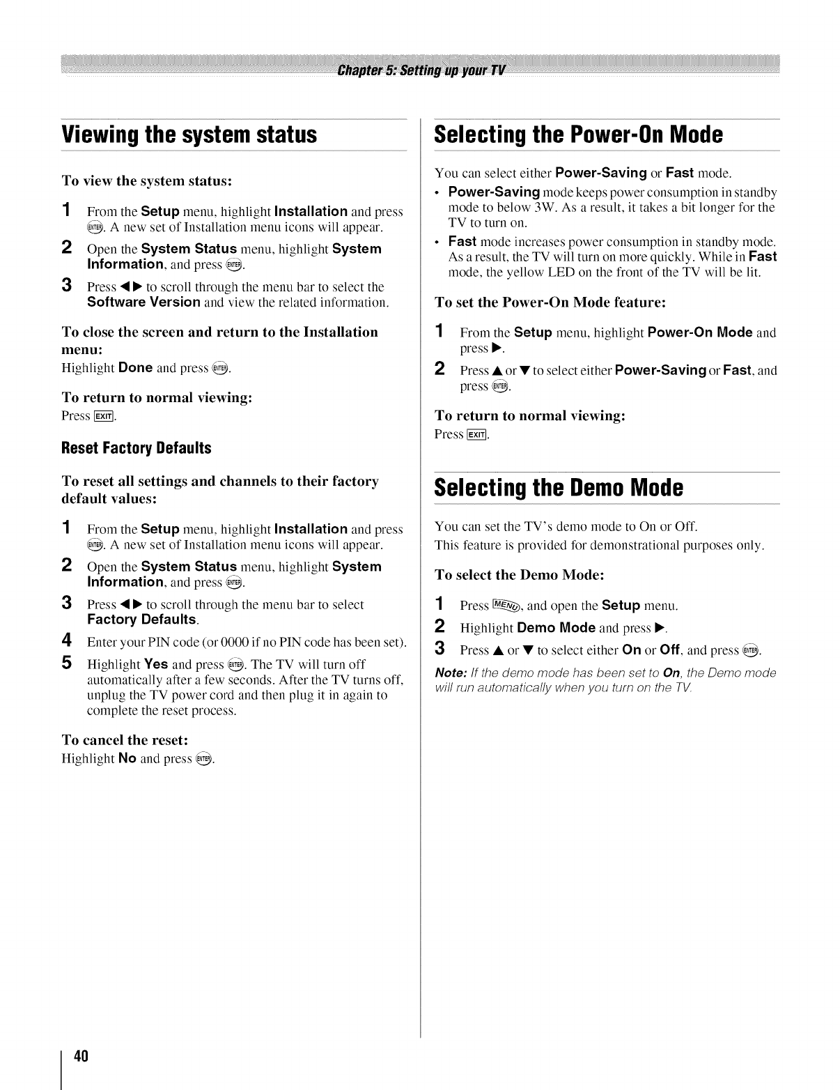 Page 40 of Toshiba Flat Panel Television 46XV540U User Guide