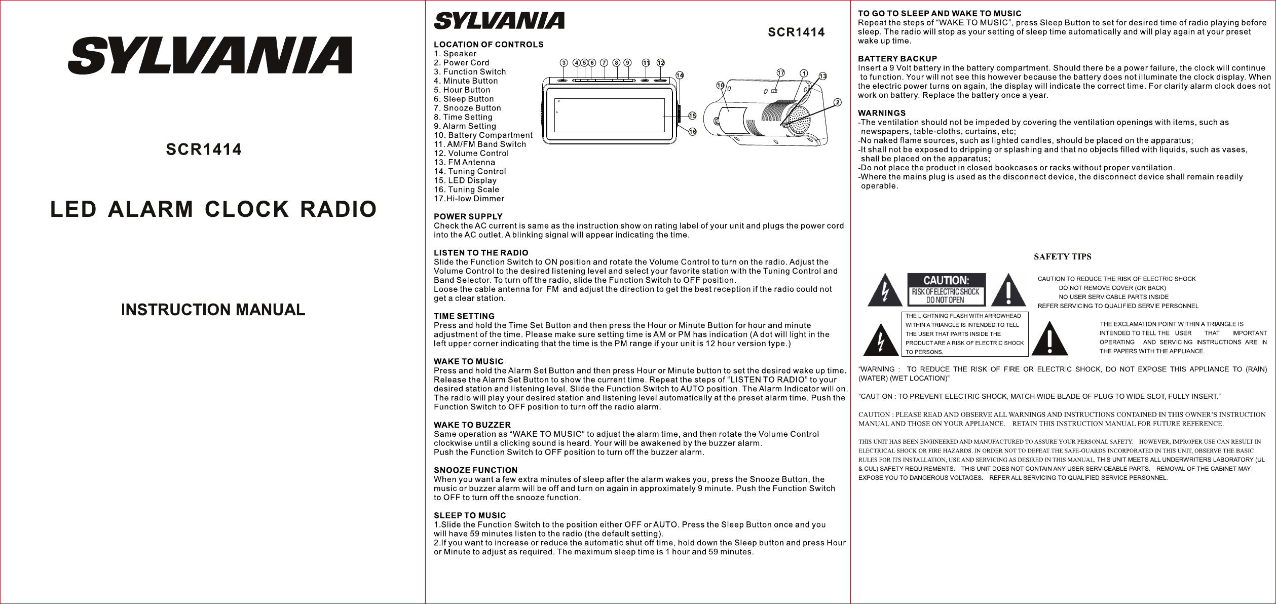 sylvania clock radio scr1414 user guide manualsonline com rh portablemedia manualsonline com audiovox cd alarm clock radio manual Audiovox CD Alarm Clock