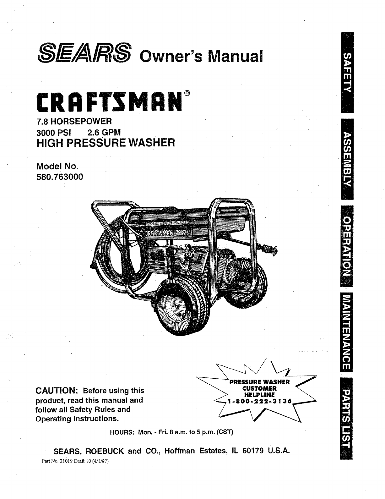 Craftsman 580 Pressure Washer Manual Wiring Diagram 580763 User Guide