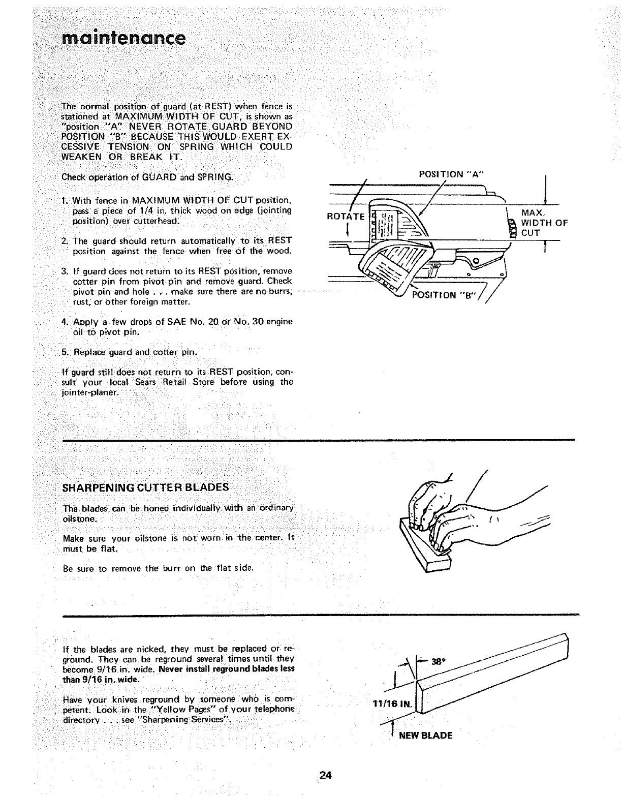 page 24 of sears planer 113 206931 user guide manualsonline com rh powertool manualsonline com De Walt Planer DW735 Manual De Walt Planer DW735 Manual