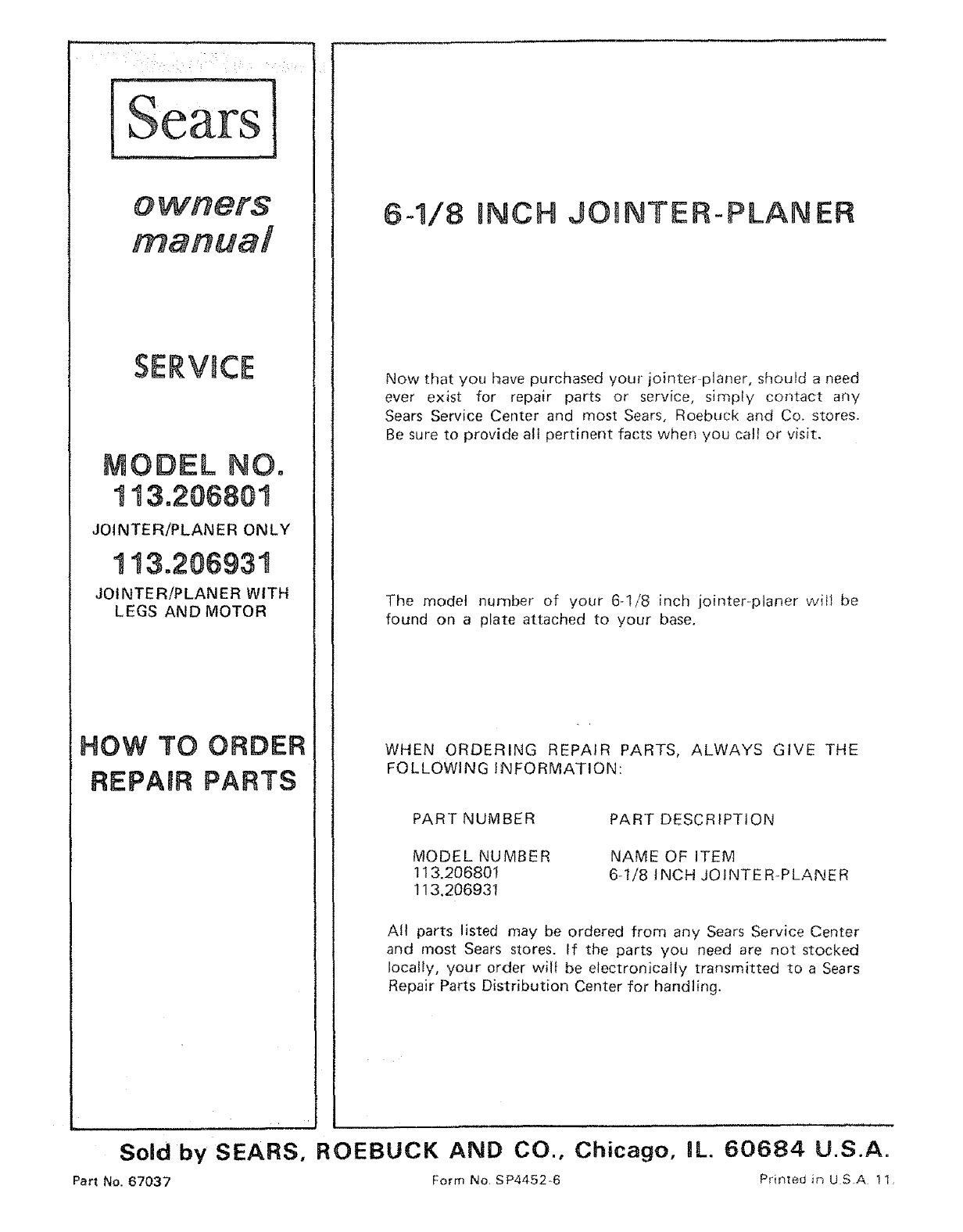 page 32 of sears planer 113 206931 user guide manualsonline com rh powertool manualsonline com De Walt Planer DW735 Manual Delta DC-380 Planer Manual