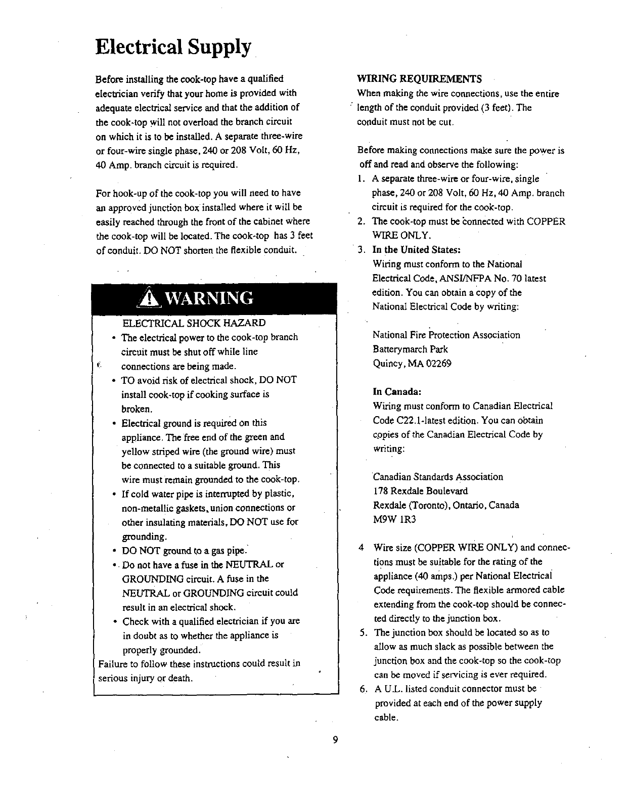 Page 9 Of Bosch Appliances Cooktop Nkt 92 User Guide Manualsonlinecom Wire Or Four Single Phase 240 Volt 60 Hz A 208