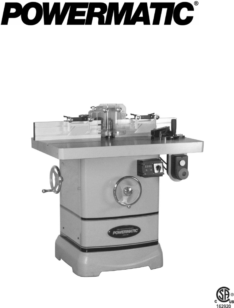 Operating Instructions and Parts Manual. Model 2700 Shaper