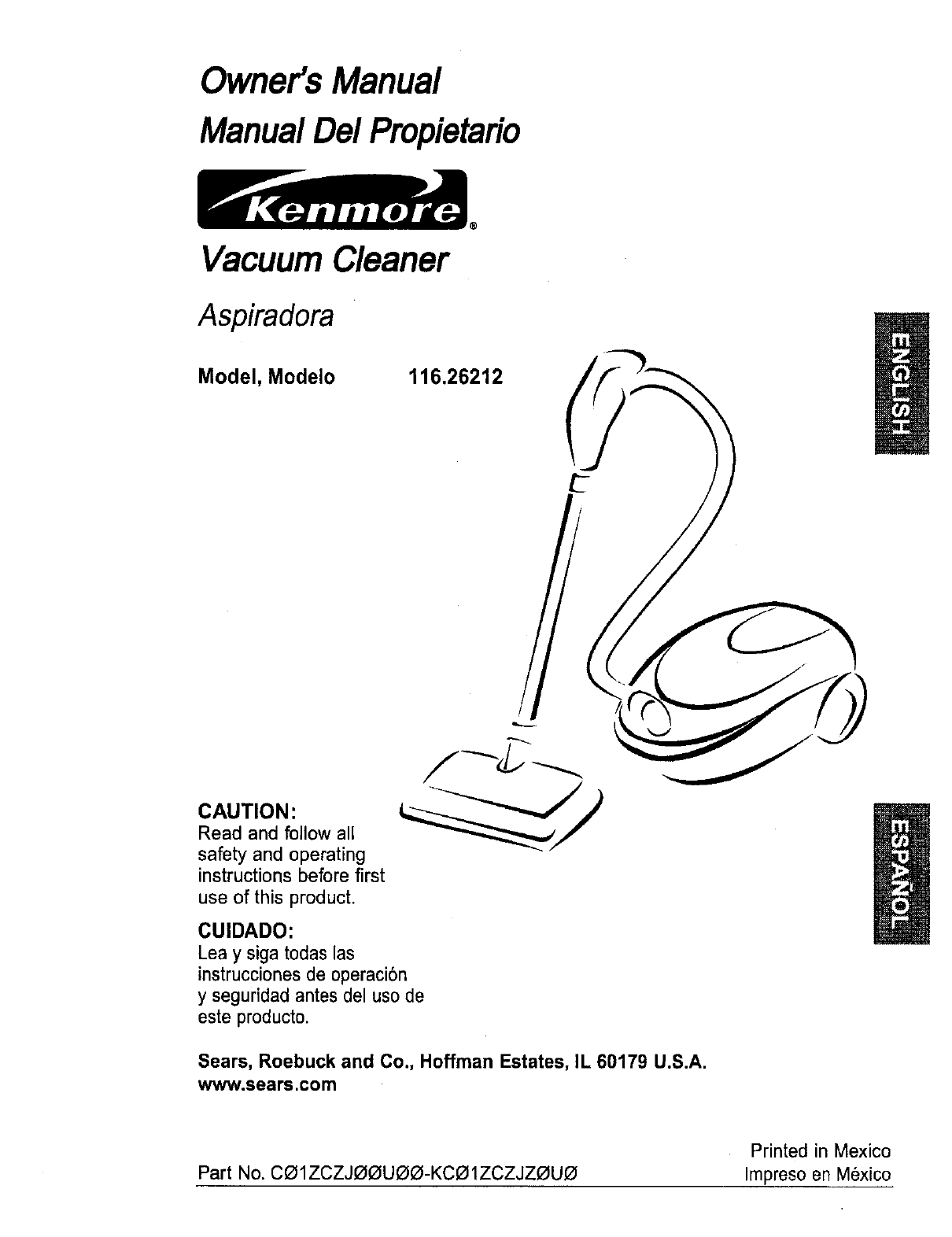 sears vacuum cleaner 116 26212 user guide manualsonline com rh homeappliance manualsonline com kenmore central vacuum instruction manual kenmore progressive canister vacuum instruction manual