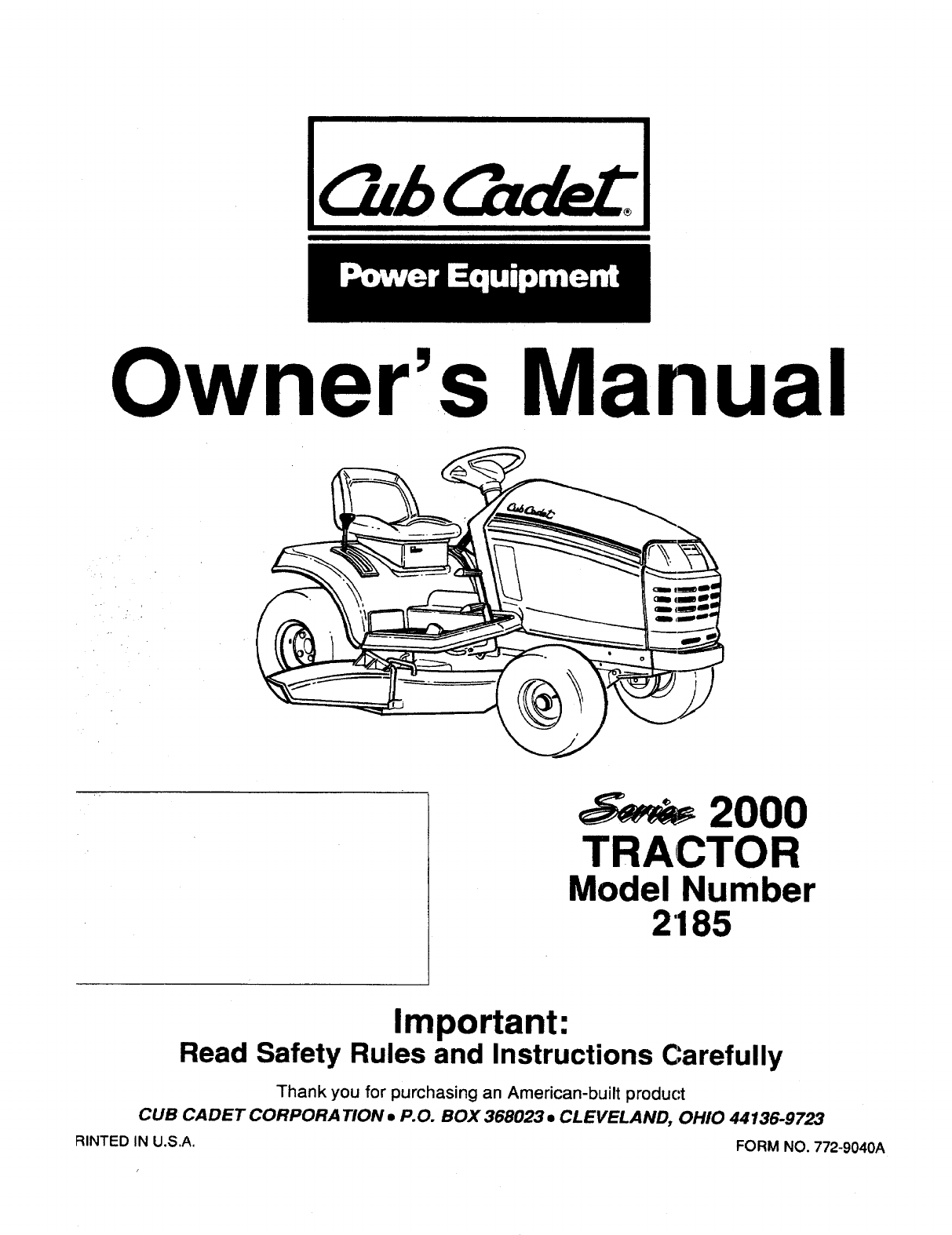 Cub cadet lawn mower 2185 user guide manualsonline next pooptronica
