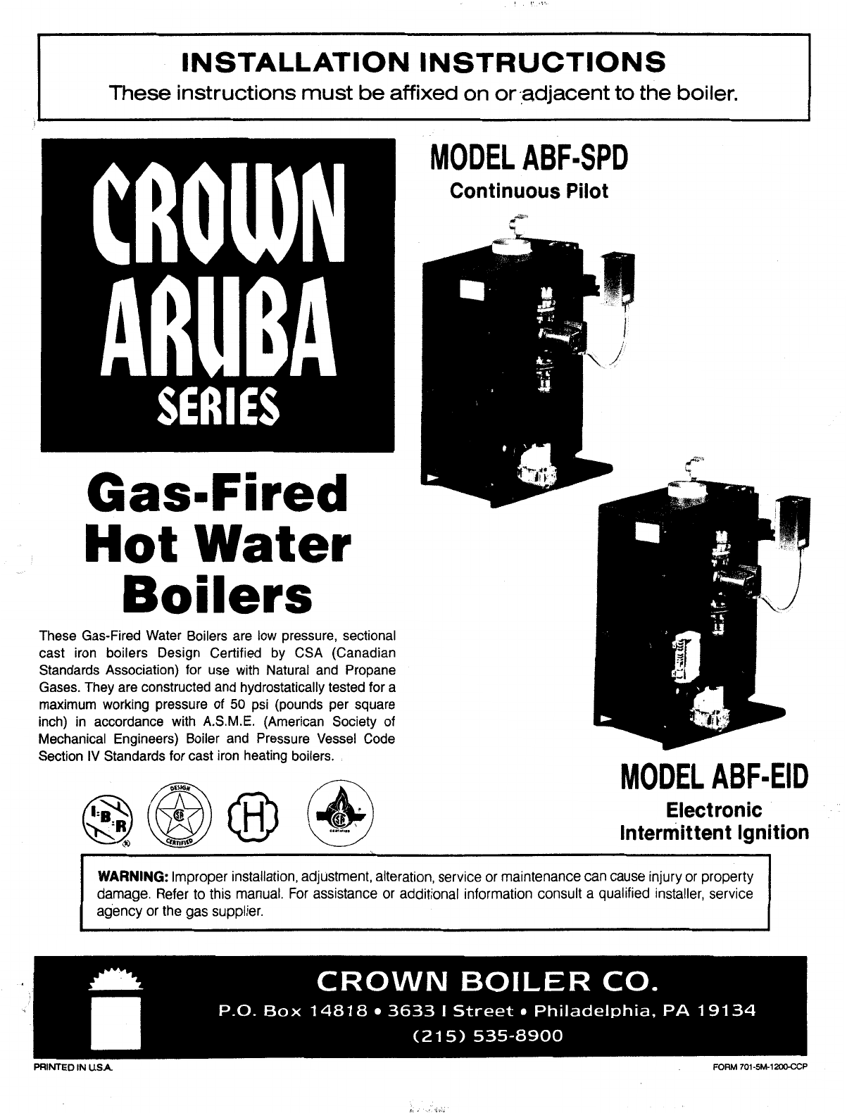 Crown Boiler Boiler ABFSPD User Guide ManualsOnlinecom
