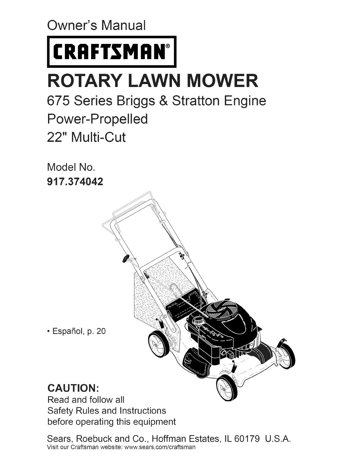 Owner's Manual. CRAFTSMAN°. ROTARY LAWN MOWER