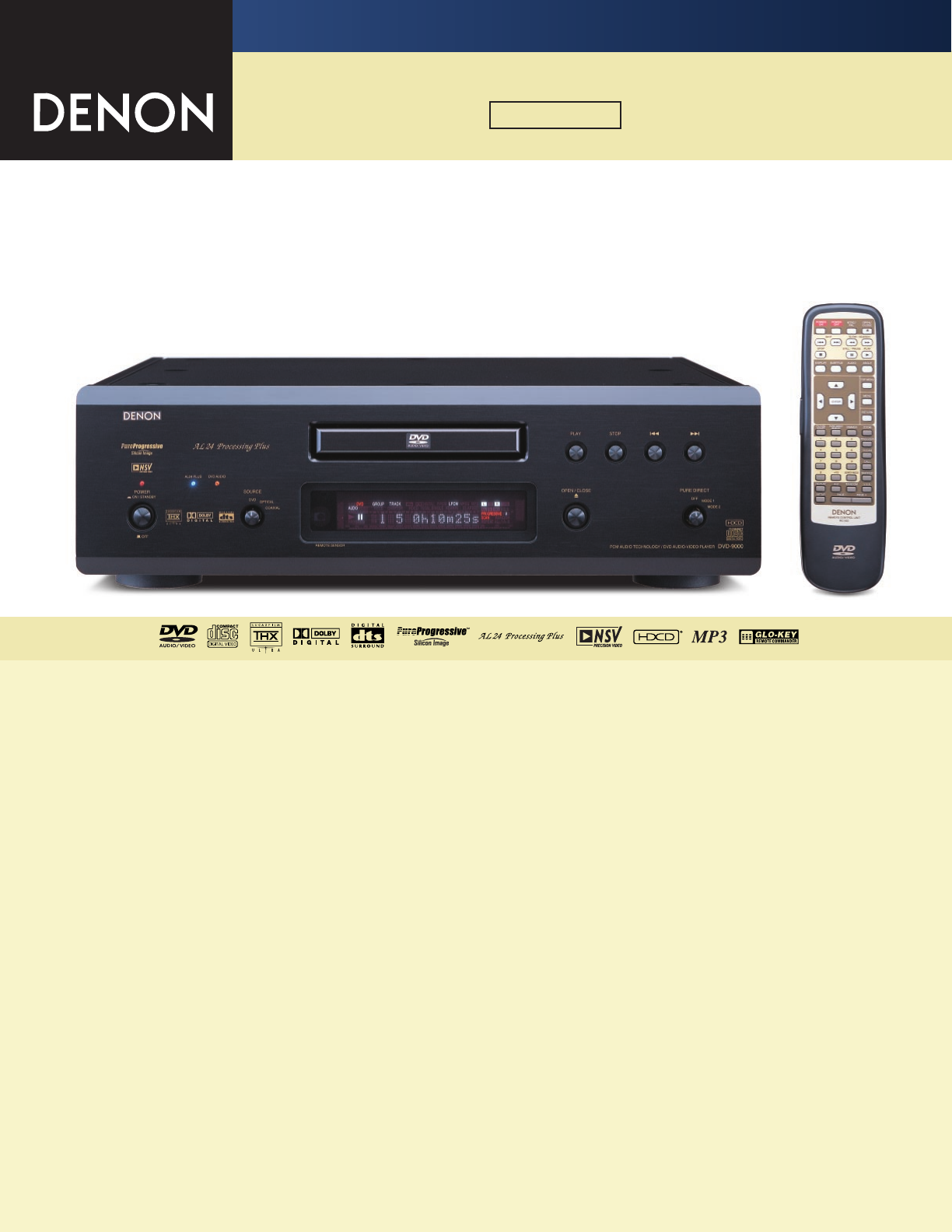 Denon DVD-9000 DVD Player User Manual